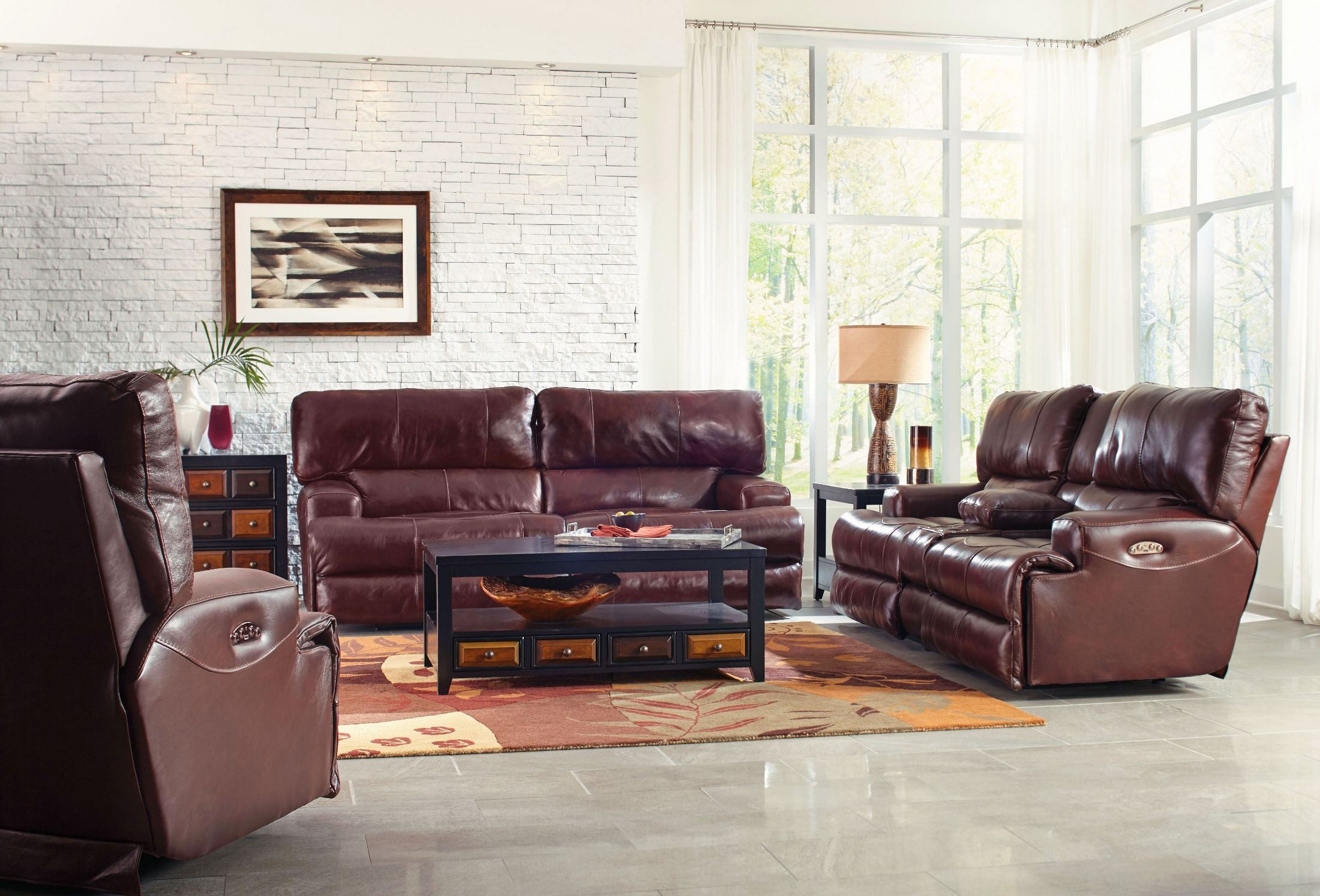 Wembley Walnut Lay Flat Reclining Living Room Set From Catnapper Coleman Furniture