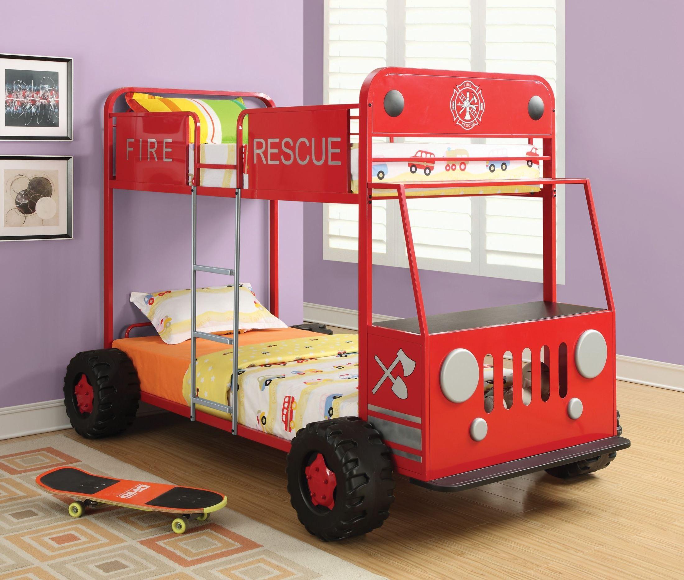 Monster Jam Bedroom Denley Fire Rescue Car Bunk Bed From Coaster 460026