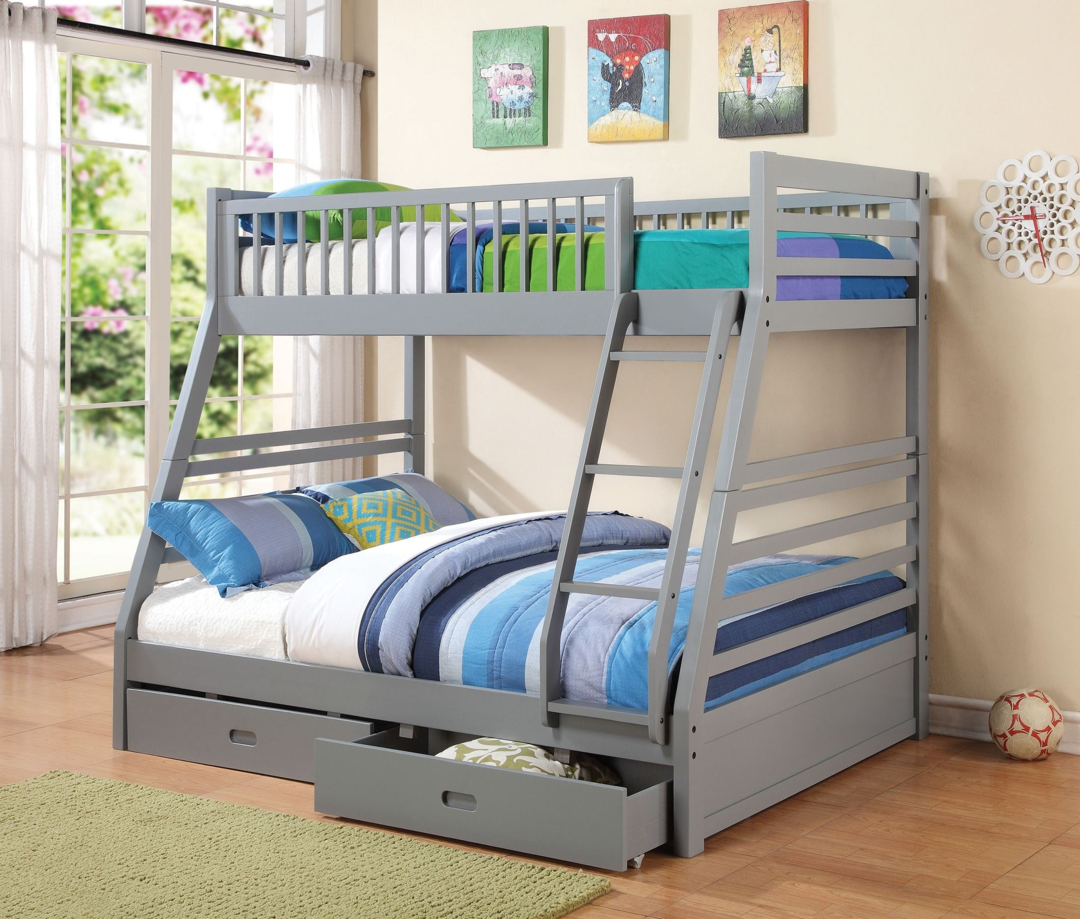 Cooper Grey Twin Over Full Storage Bunk Bed From Coaster