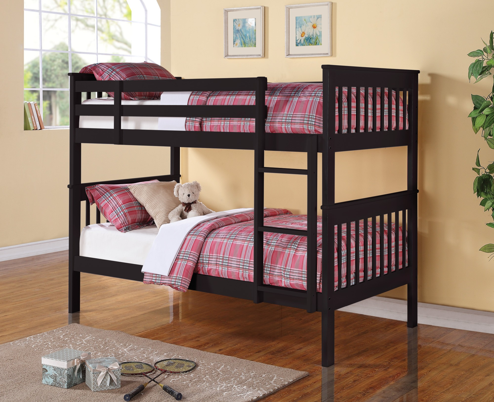 460234 Rich Black Twin Over Twin Bunk Bed From Coaster