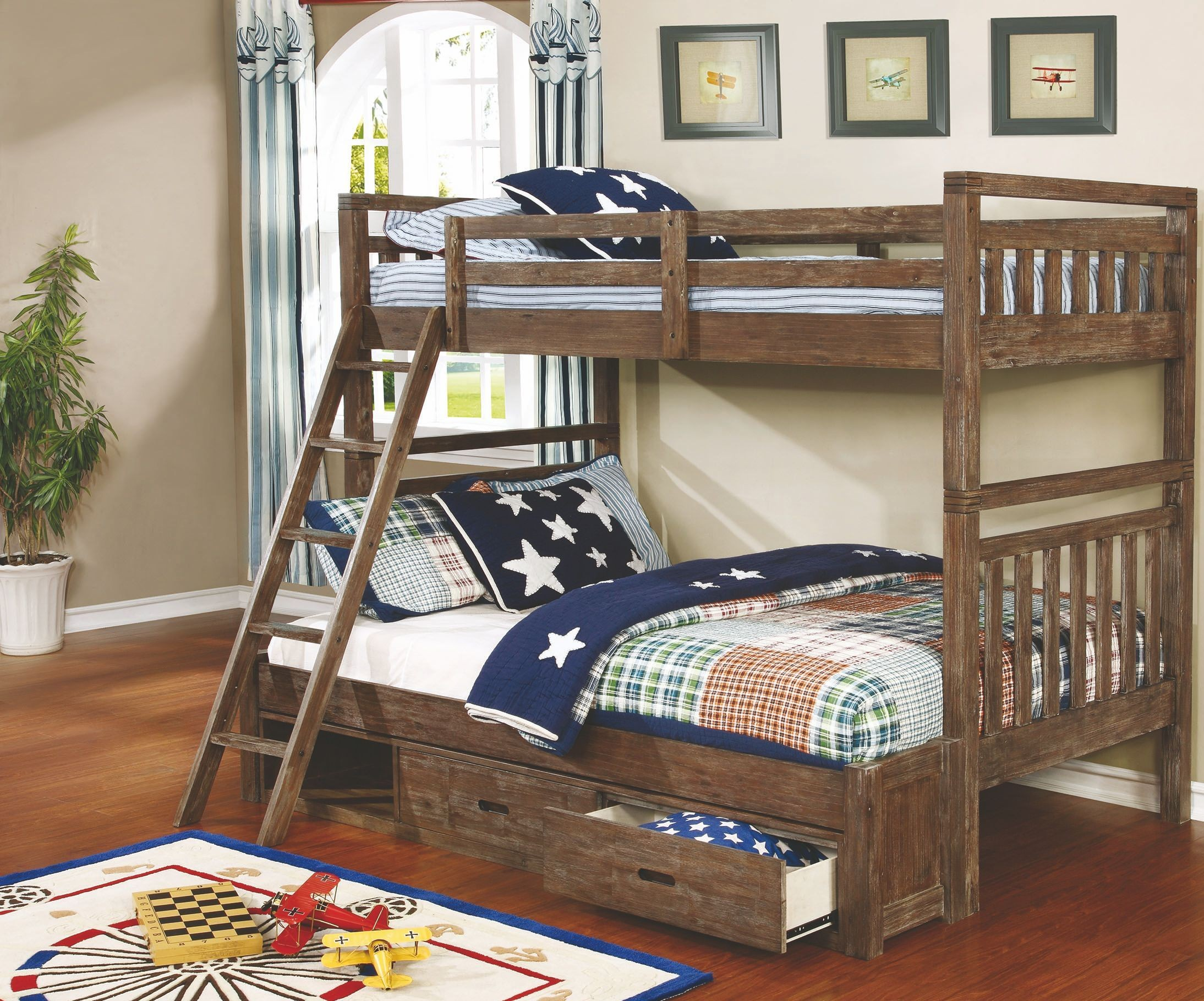 Malcolm Youth Wire Brush Twin Over Full Bunk Bed From