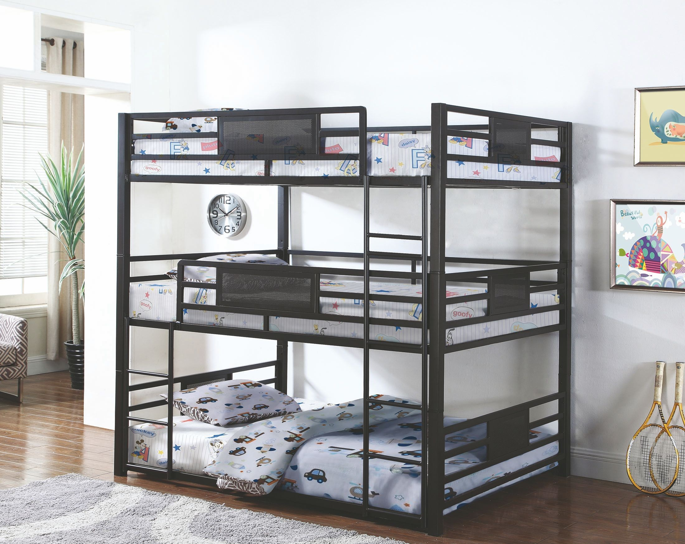 Rogen Gunmetal Full Triple Bunk Bed From Coaster Coleman