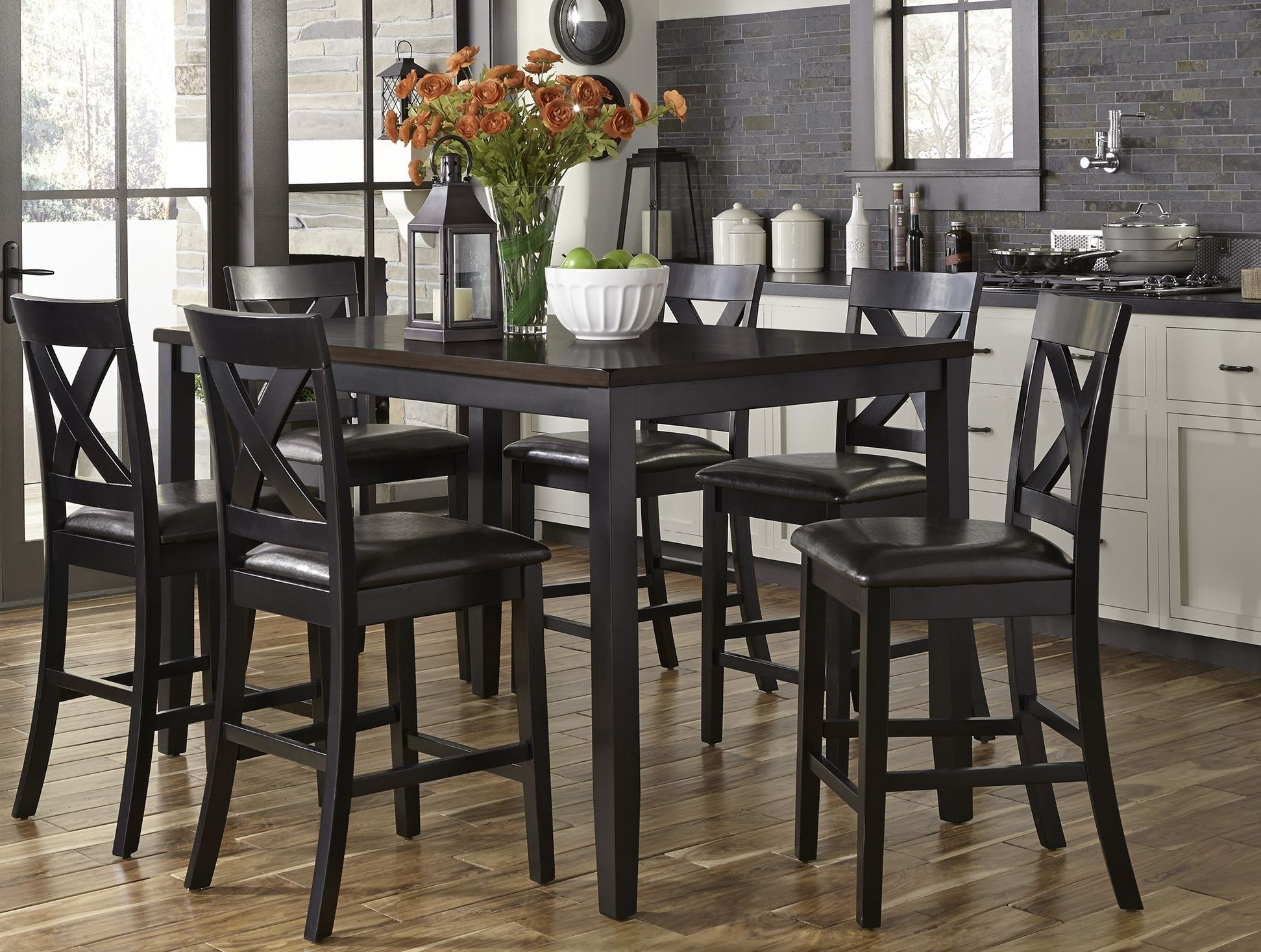 black 7 piece dining room set | Thornton II Black and Brown 7 Piece Counter Height Dining ...