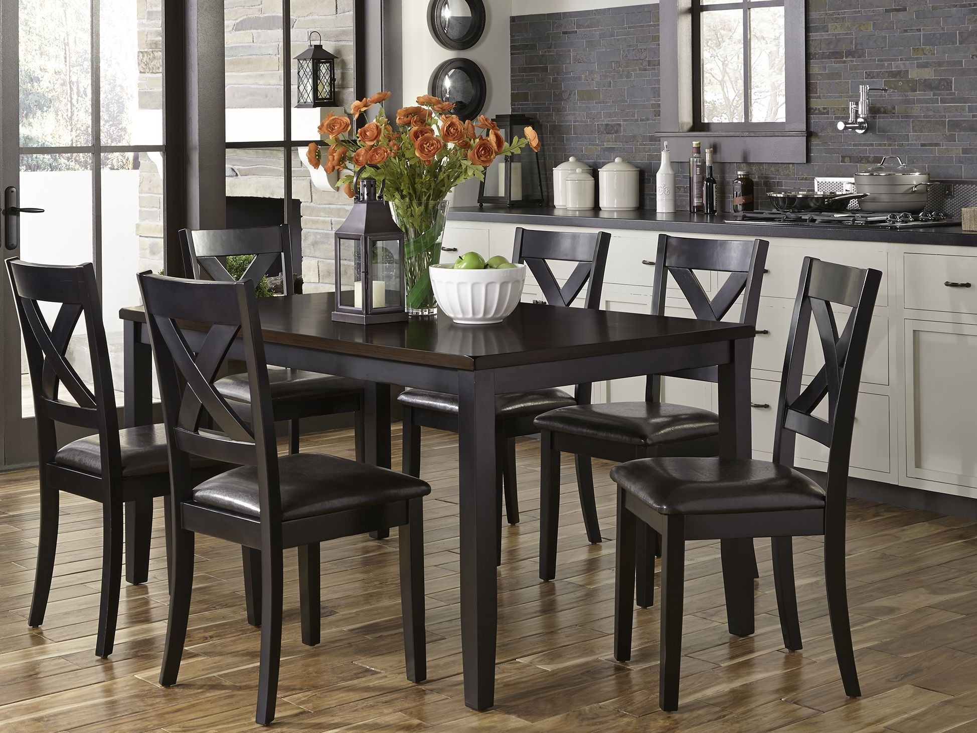 thornton ii black and brown 7 piece rectangular dining room set from liberty coleman furniture. Black Bedroom Furniture Sets. Home Design Ideas