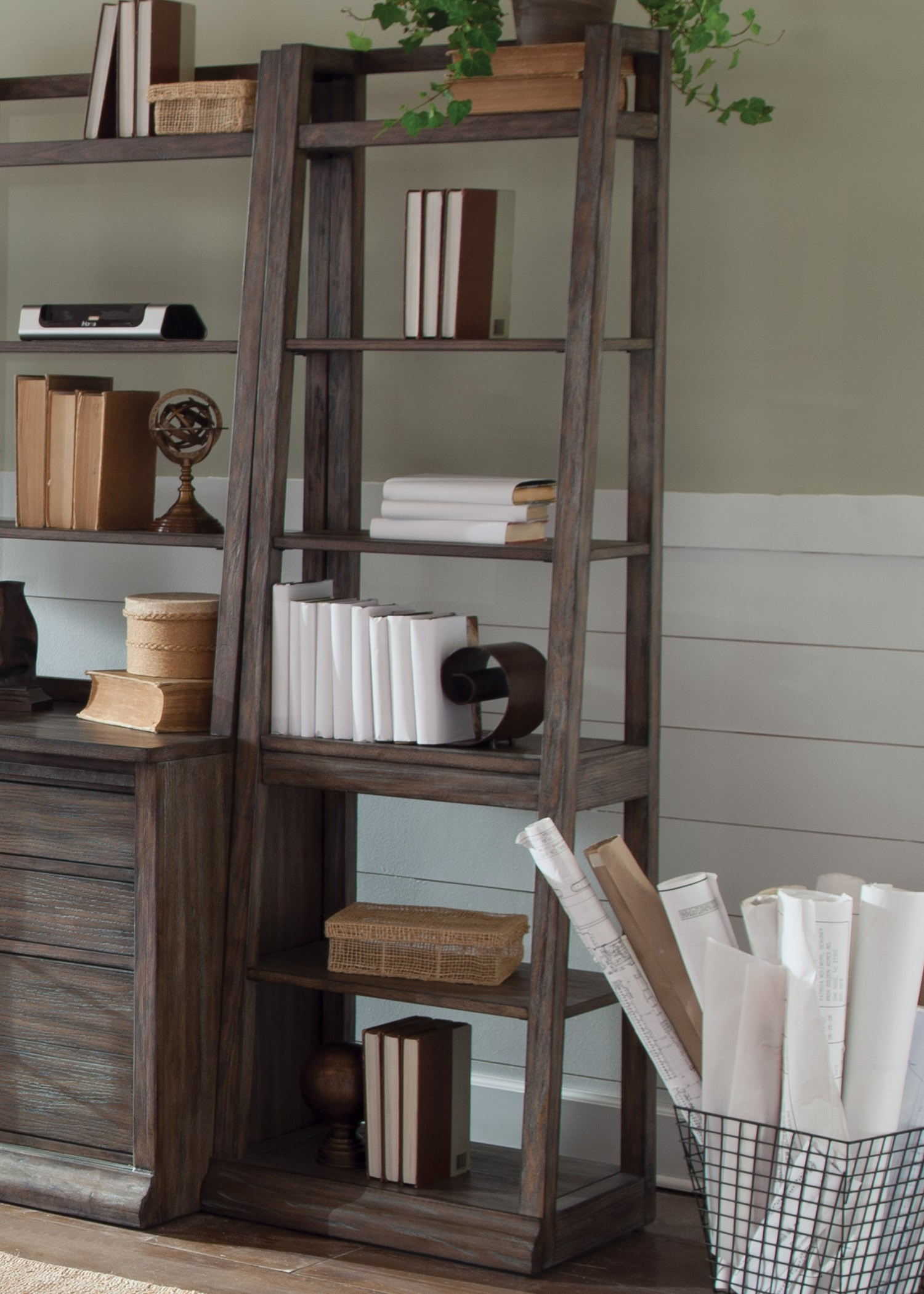 Rustic Americana Hardwood Executive Desk Home Office: Stone Brook Rustic Saddle Leaning Bookcase From Liberty