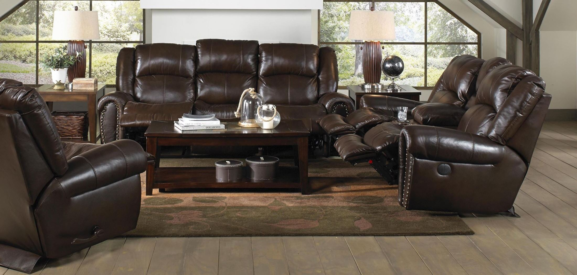 Jordan tobacco reclining living room set from catnapper