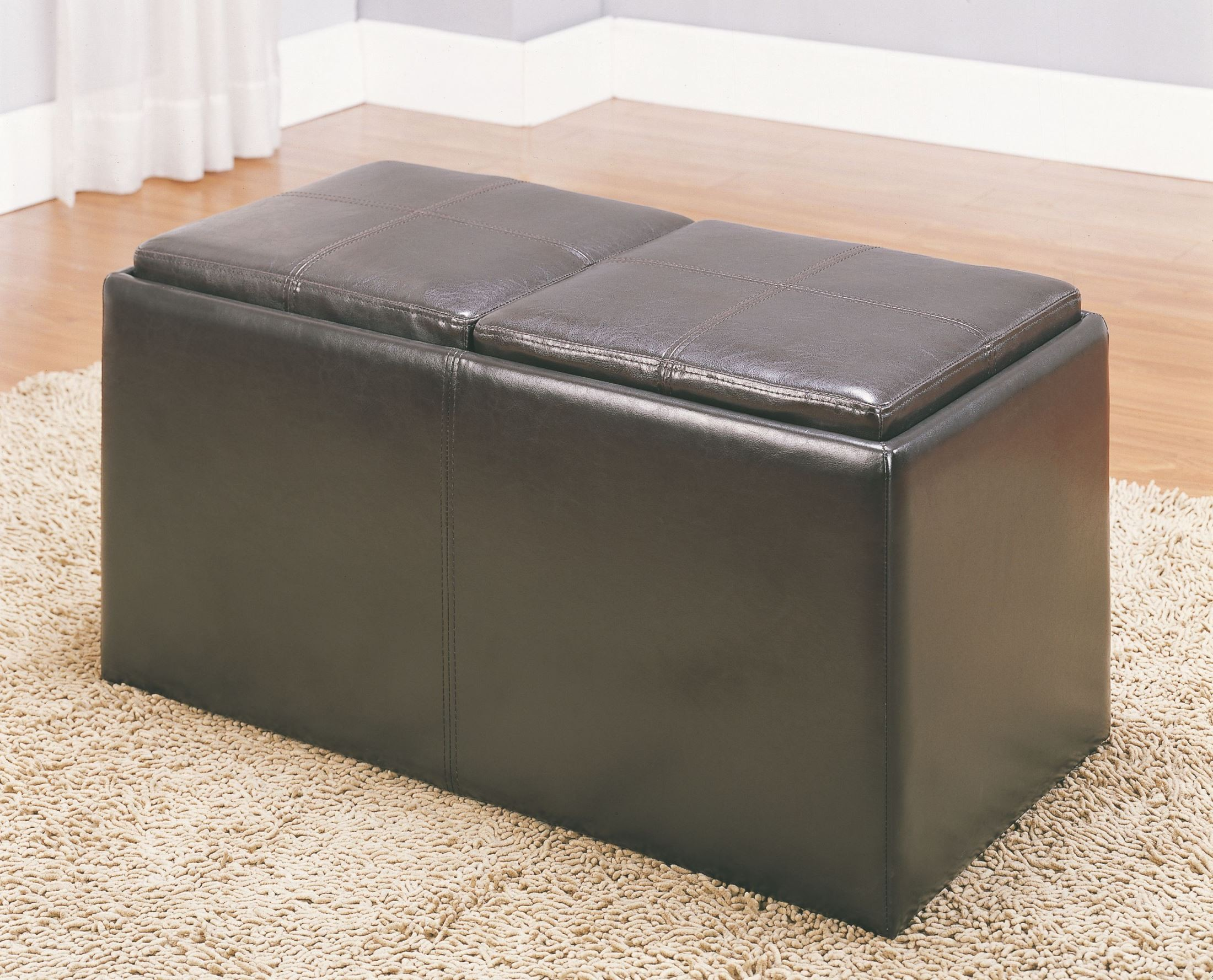 claire storage bench with 2 ottomans trays from homelegance 469pu coleman furniture. Black Bedroom Furniture Sets. Home Design Ideas