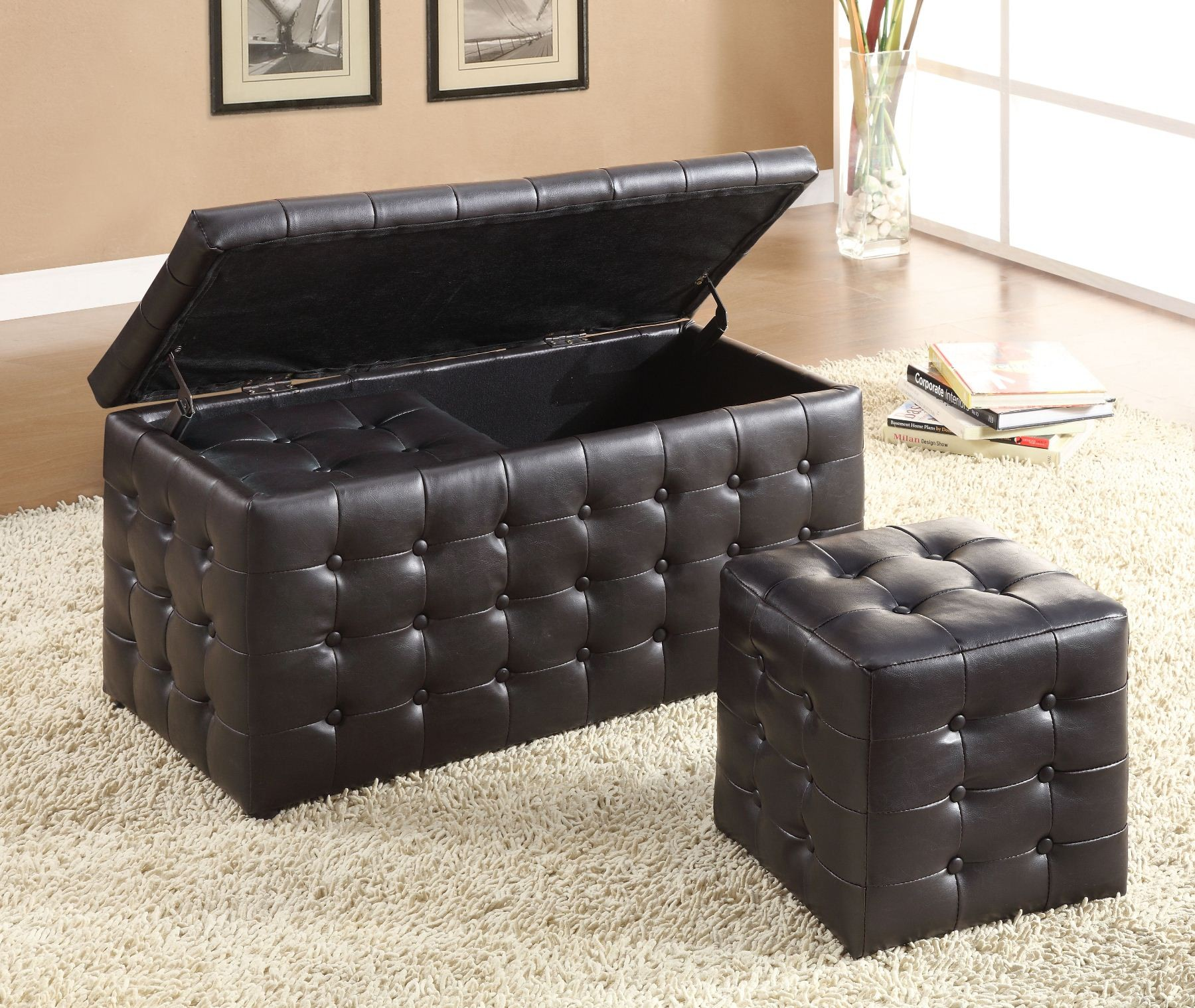 Reynolds Storage Bench With 2 Ottomans From Homelegance 4720pu Coleman Furniture