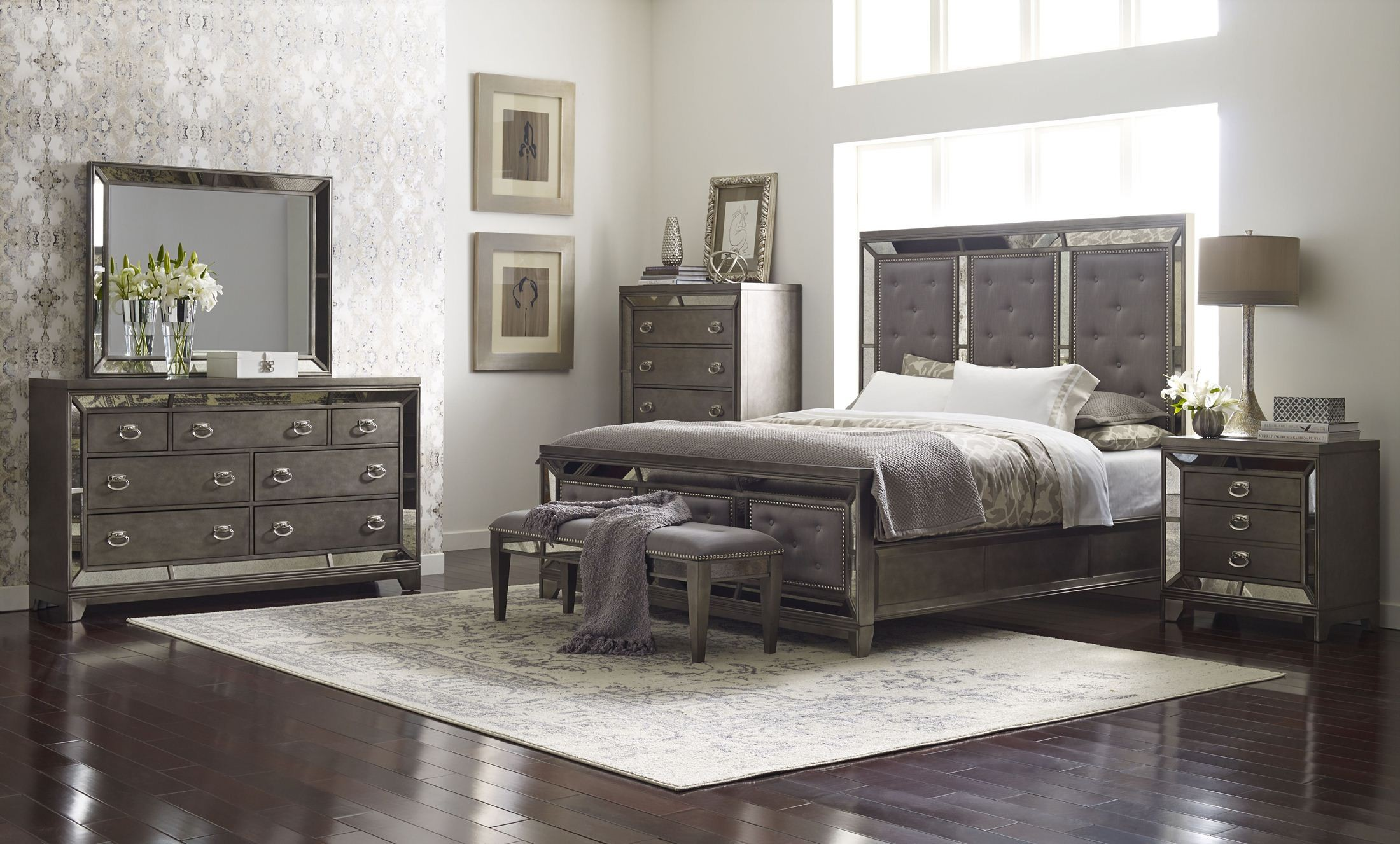 Regency Rich Platinum Painted Panel Bedroom Set From