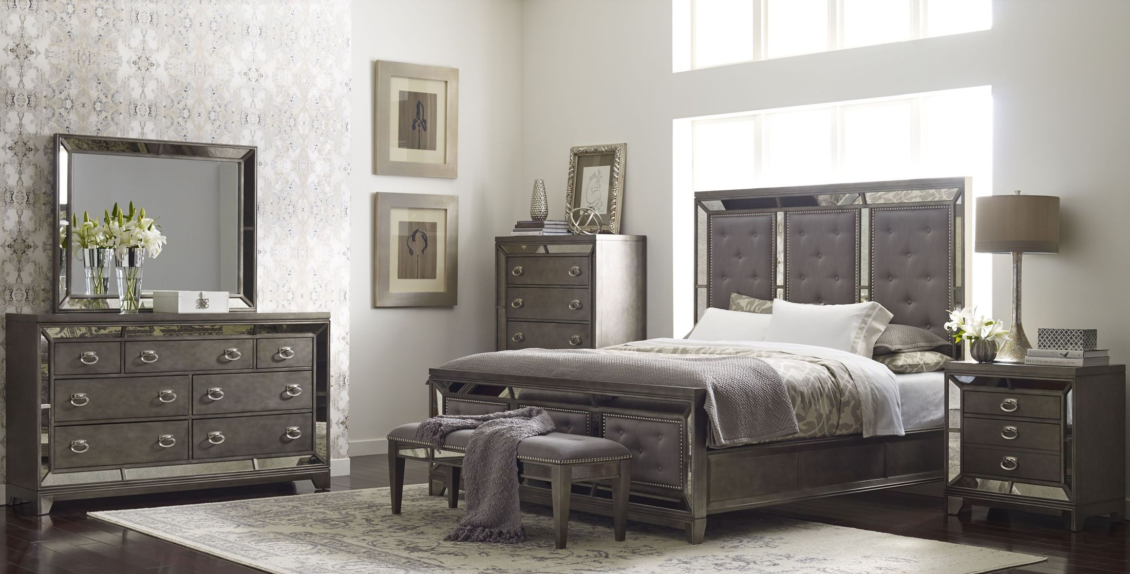 lenox platinum painted upholstered panel bedroom set from avalon furniture | coleman furniture