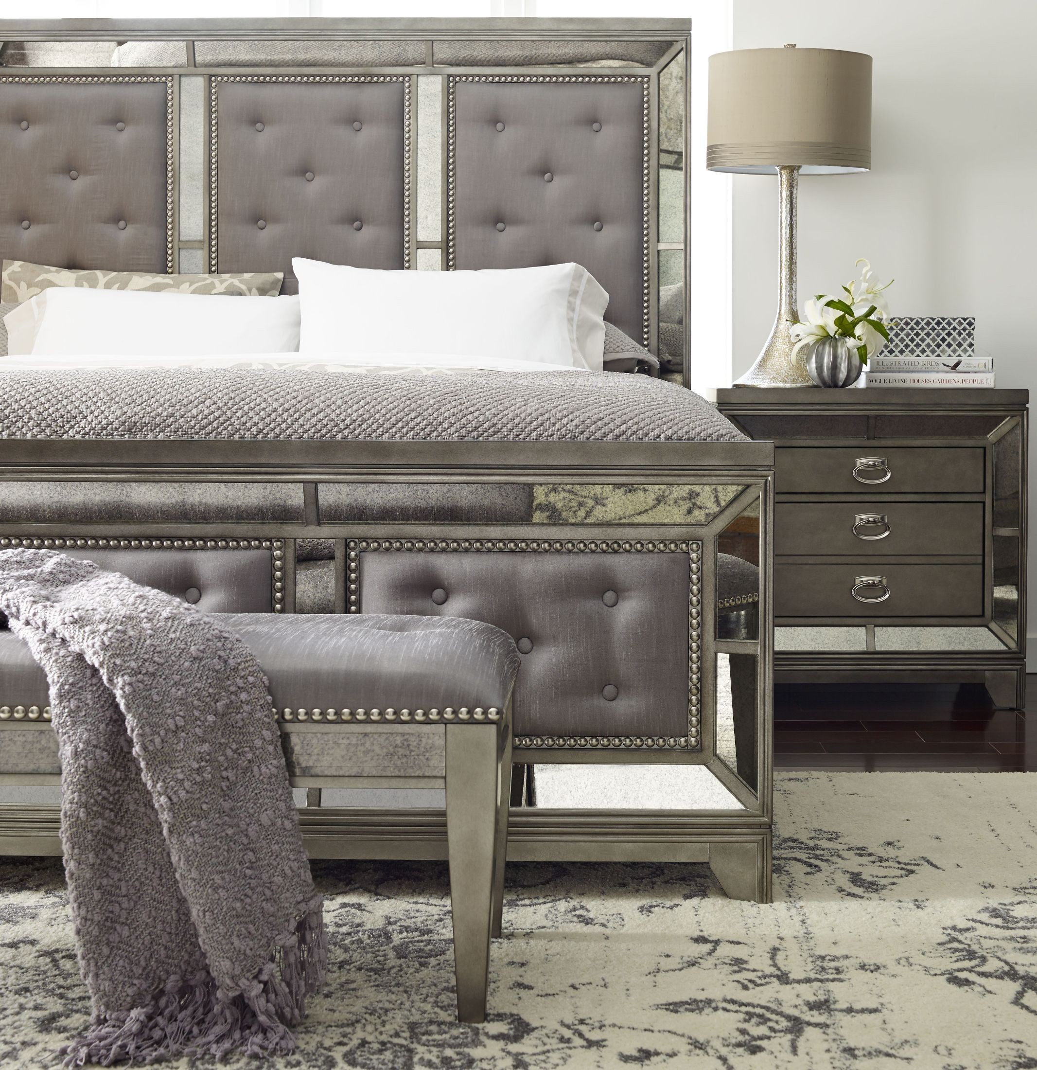 Lovely Lenox Platinum Painted Upholstered Panel Bedroom Set