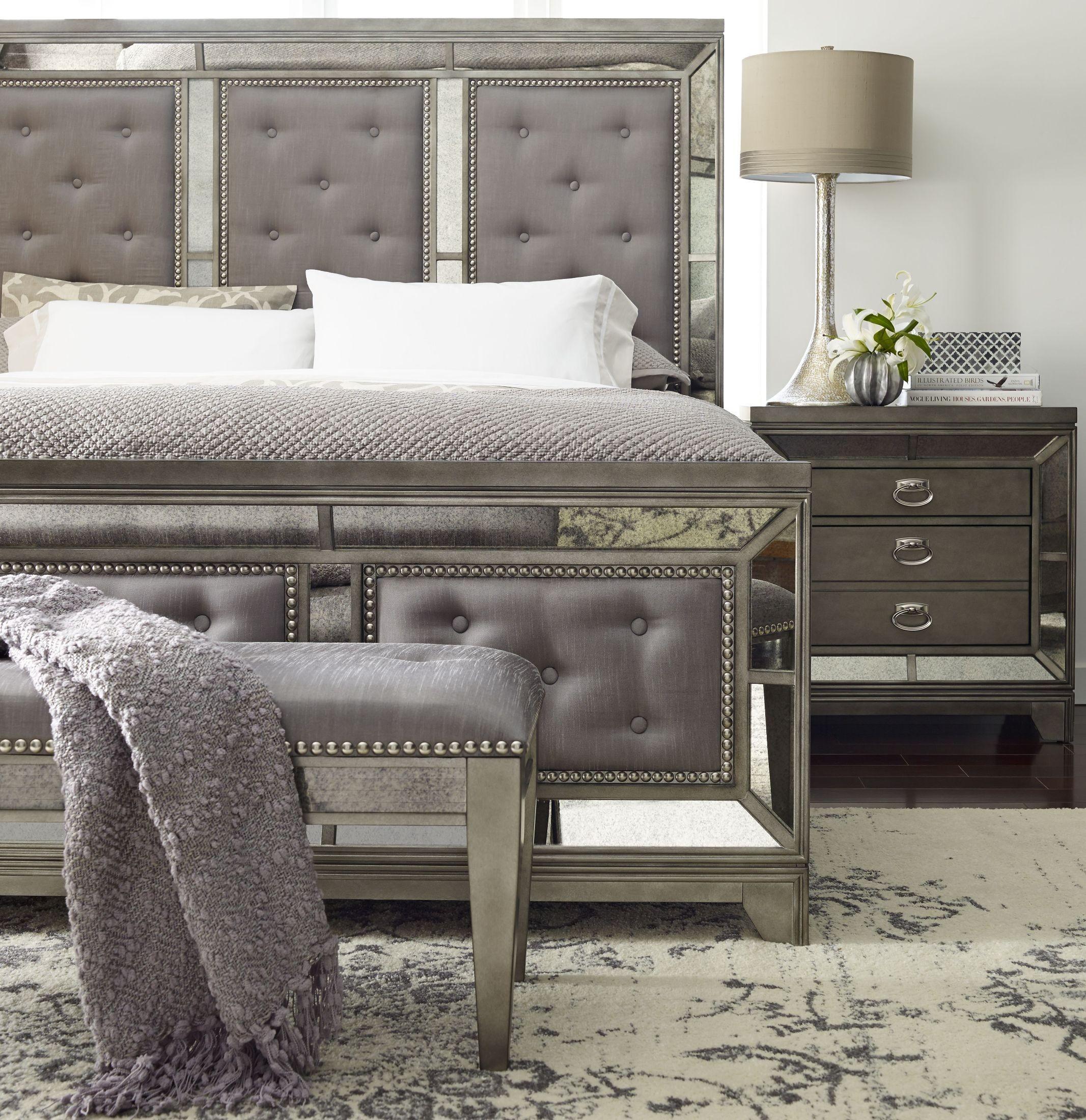 avalon bedroom set. Lenox Platinum Painted Upholstered Panel Bedroom Set from Avalon