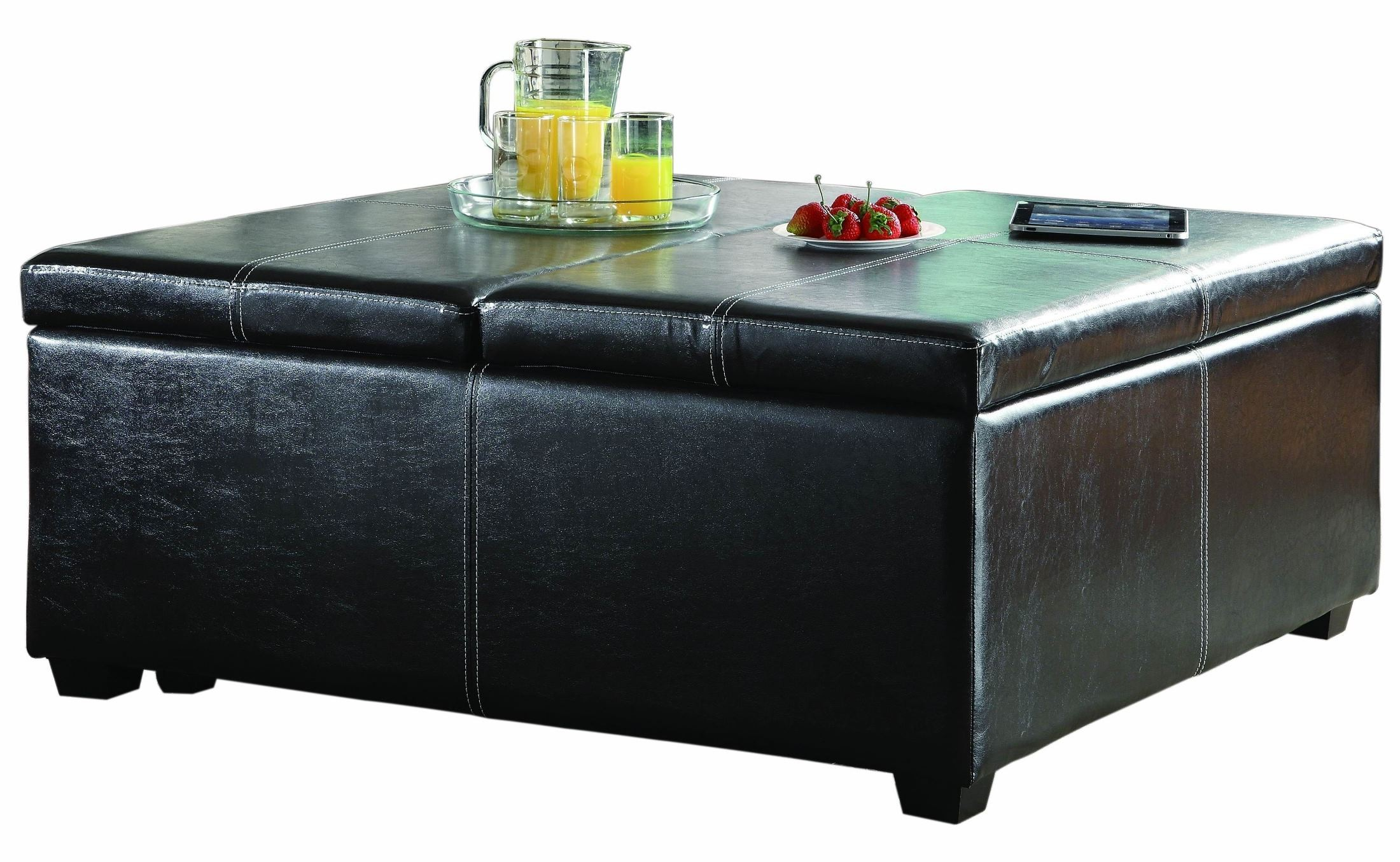Synergy Lift Top Storage Cocktail Ottoman On Casters From