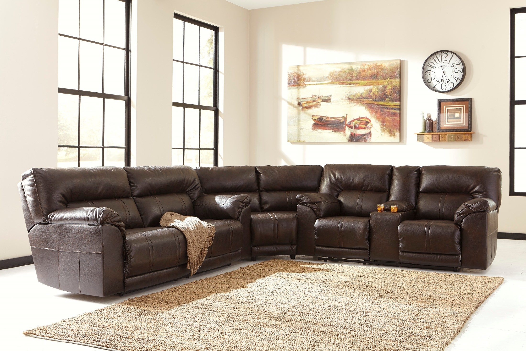 Barrettsville Durablend Chocolate Power Reclining Sectional From Ashley 4730147 96 77