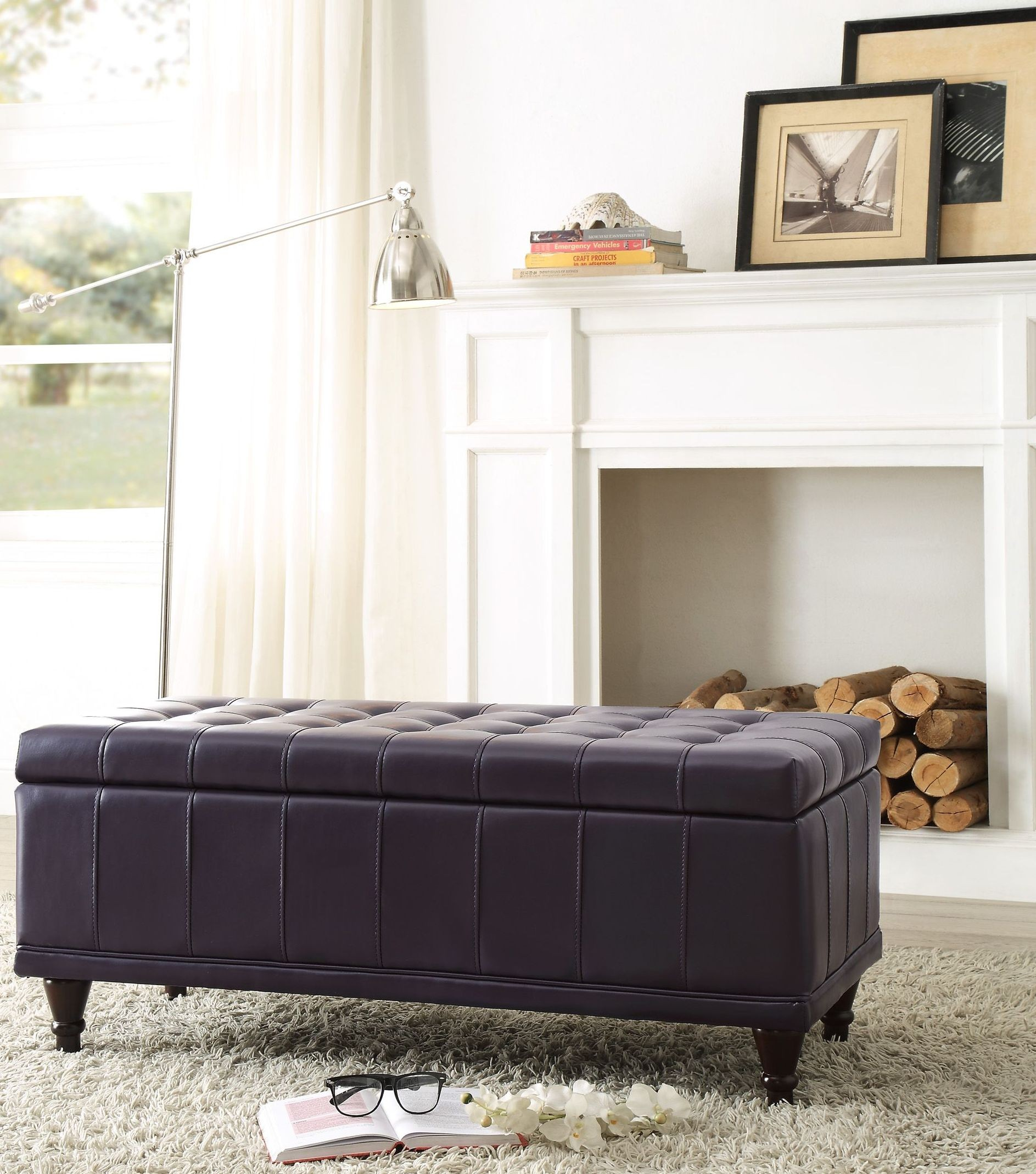Afton Purple Lift Top Storage Bench From Homelegance