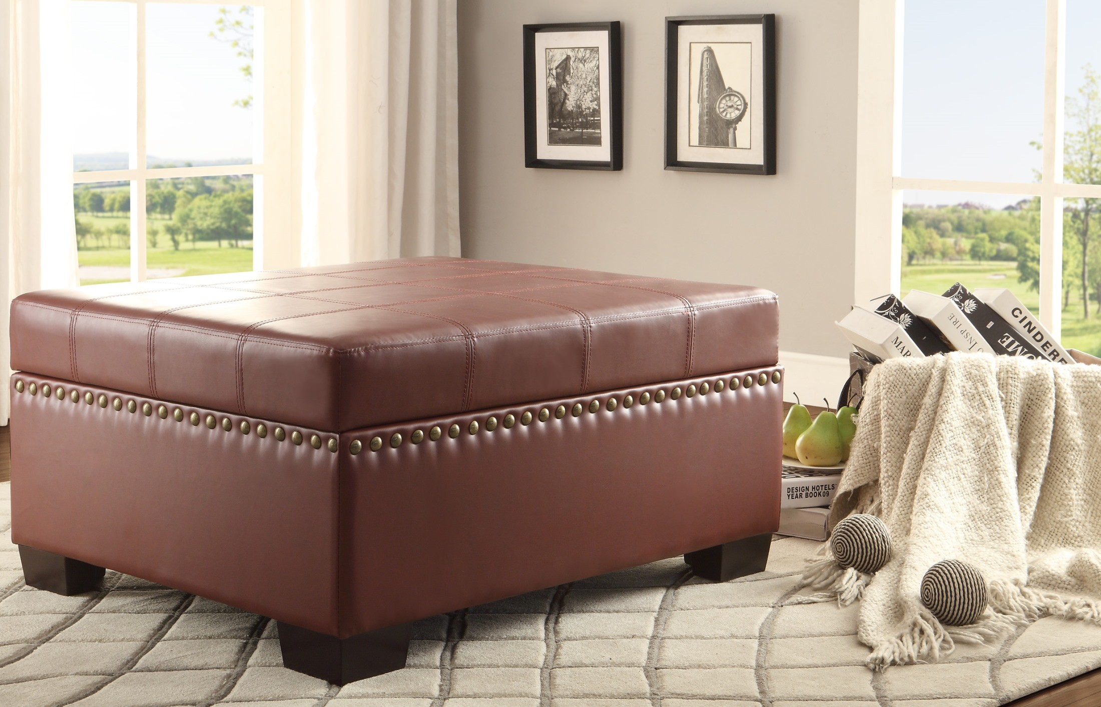 Mendota Burgundy Lift Top Storage Cocktail Ottoman From