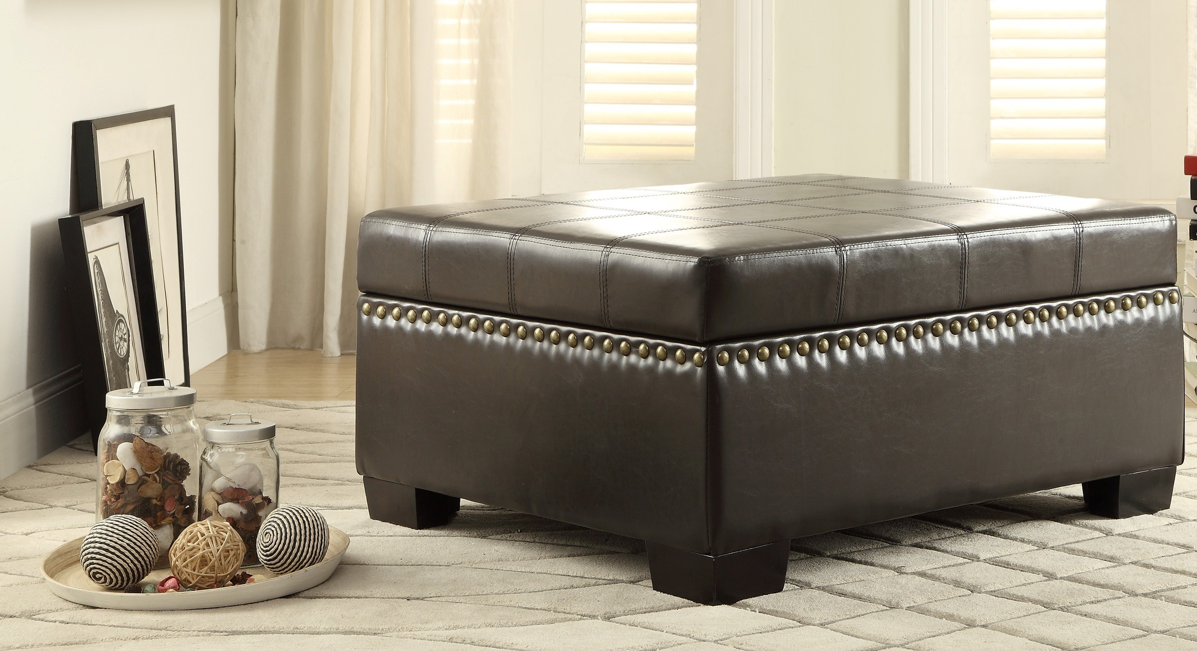 Mendota Dark Brown Lift Top Storage Cocktail Ottoman From