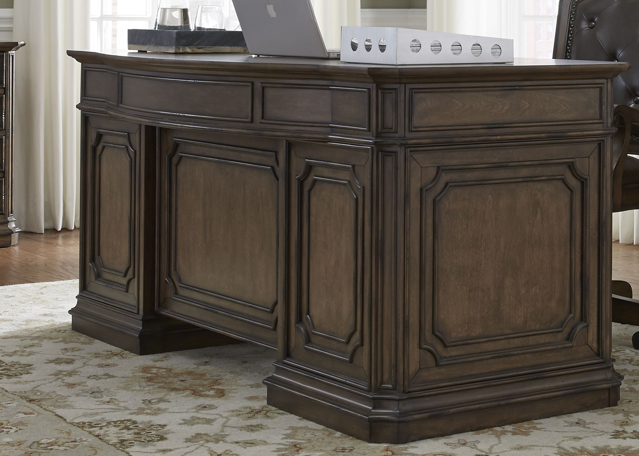 Amelia antique toffee jr executive home office set from - Home executive office furniture ...