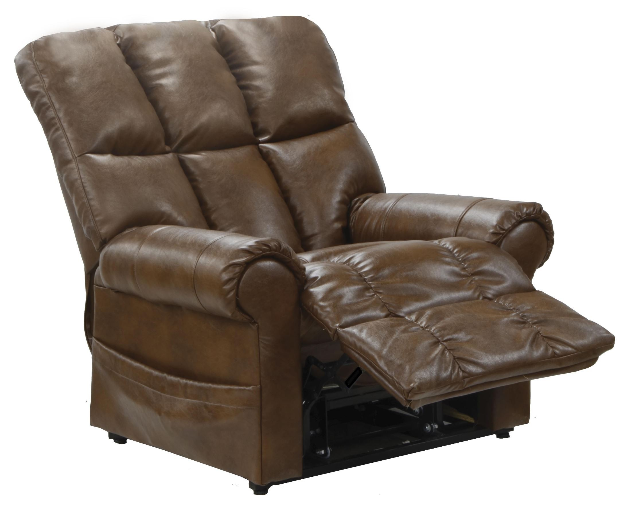 Stallworth chestnut bonded leather power lift recliner for Catnapper cloud nine chaise recliner