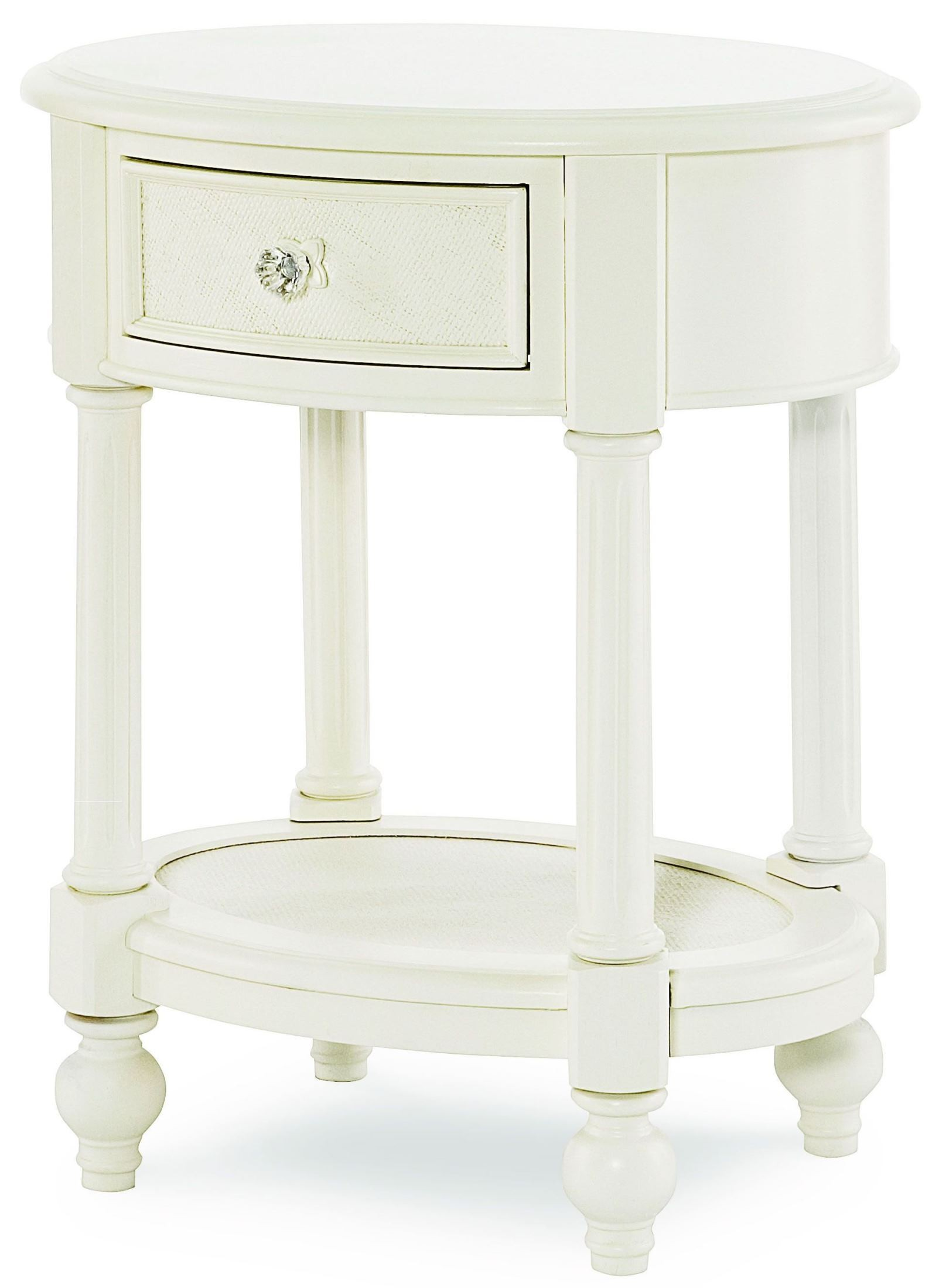 Harmony Antique Linen White 1 Drawer Oval Nightstand From