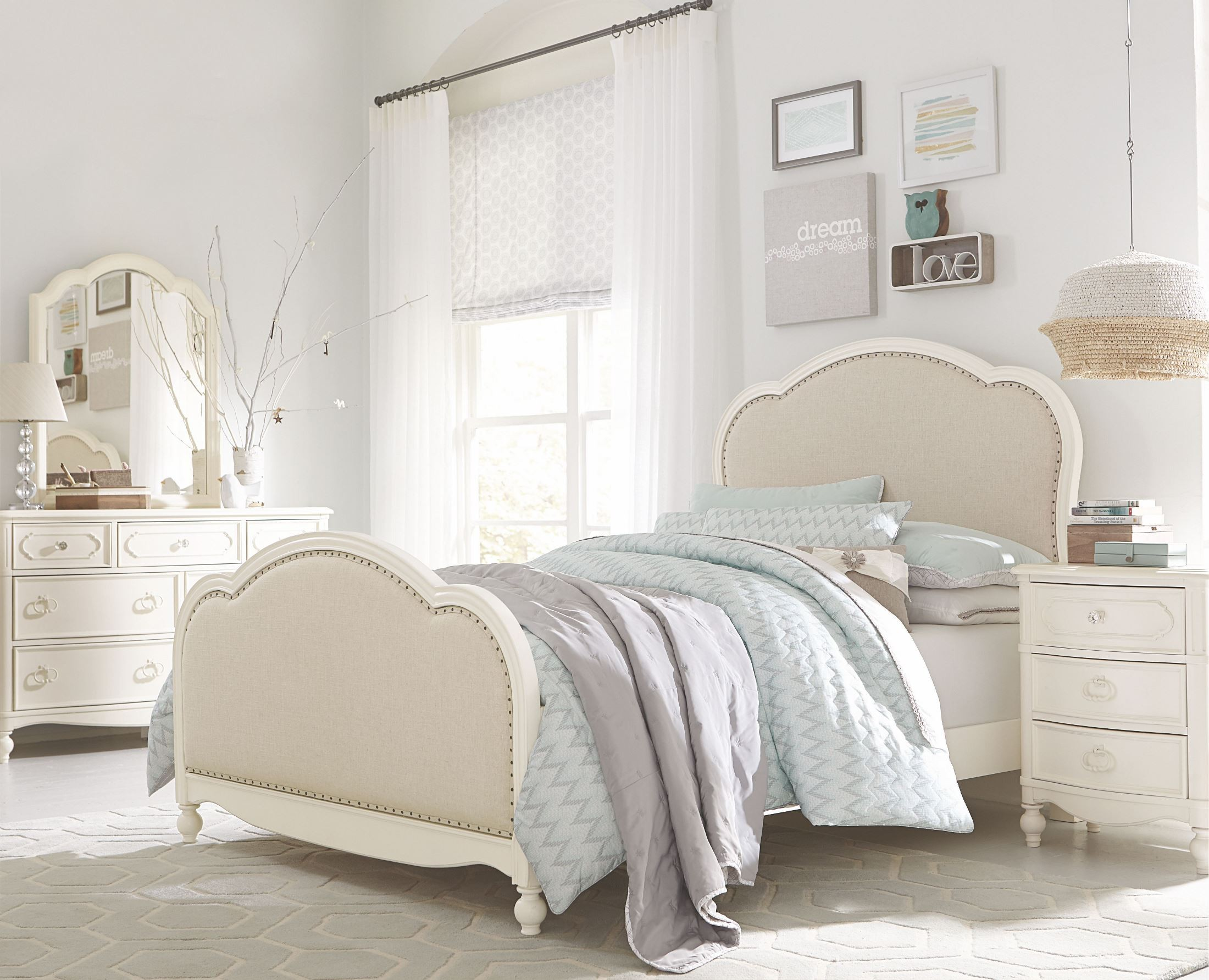 Harmony Antique Linen White Youth Victoria Upholstered Panel Bedroom Set From Legacy Kids