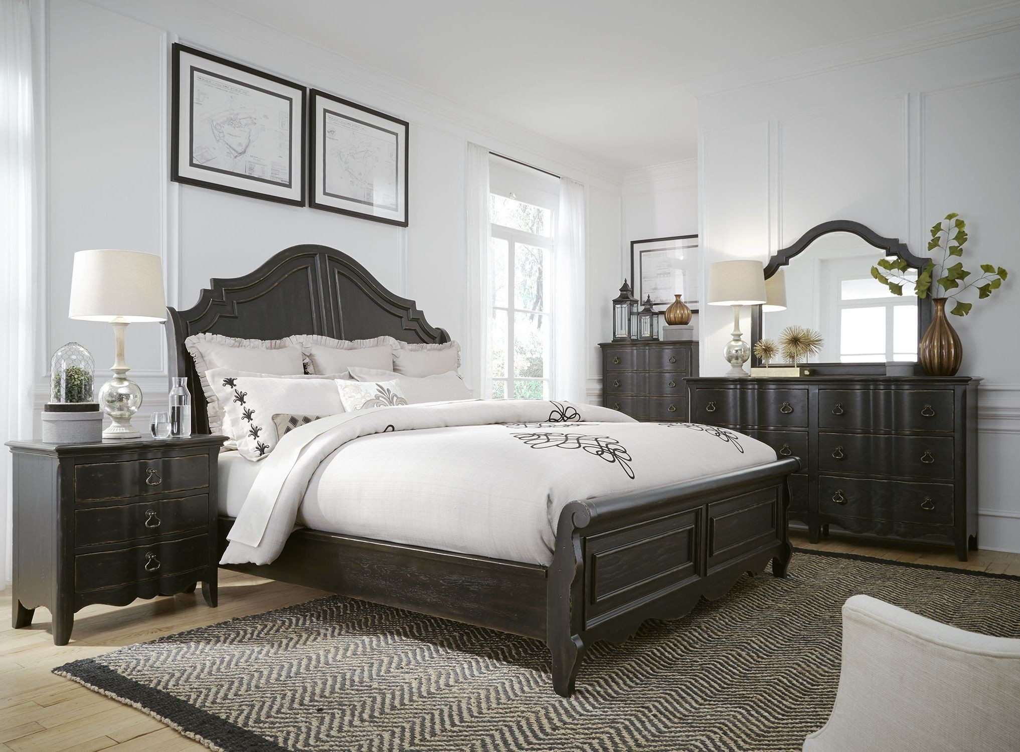 Chesapeake Antique Black Sleigh Bedroom Set from Liberty | Coleman ...