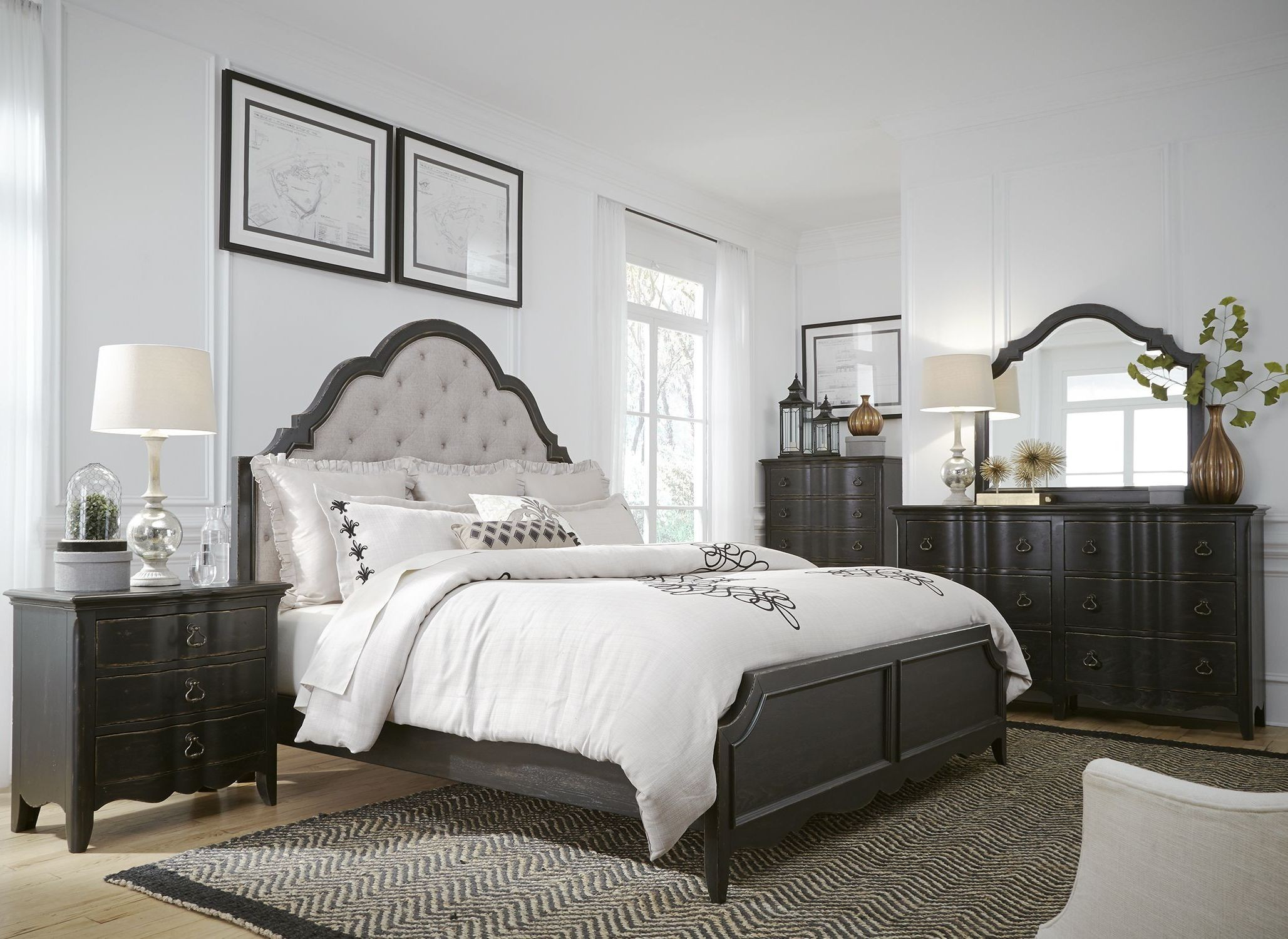 Chesapeake Antique Black Upholstered Panel Bedroom Set From Liberty Coleman Furniture