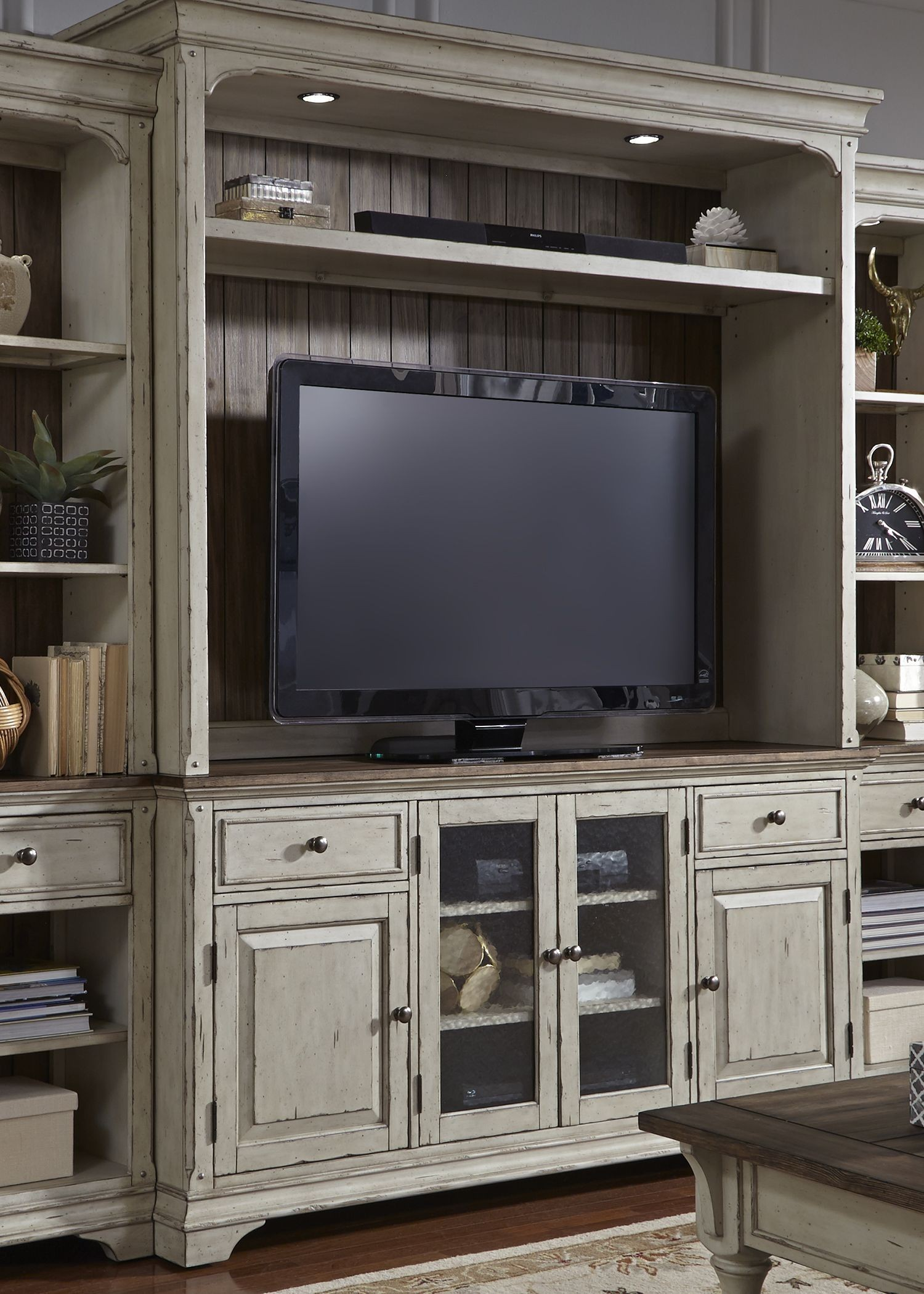 Morgan Creek Antique White Entertainment Center From
