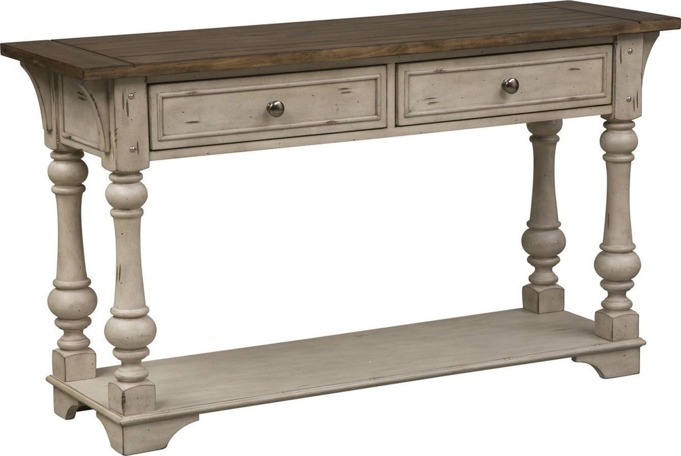 antique white sofa table Morgan Creek Antique White Sofa Table from Liberty | Coleman  antique white sofa table