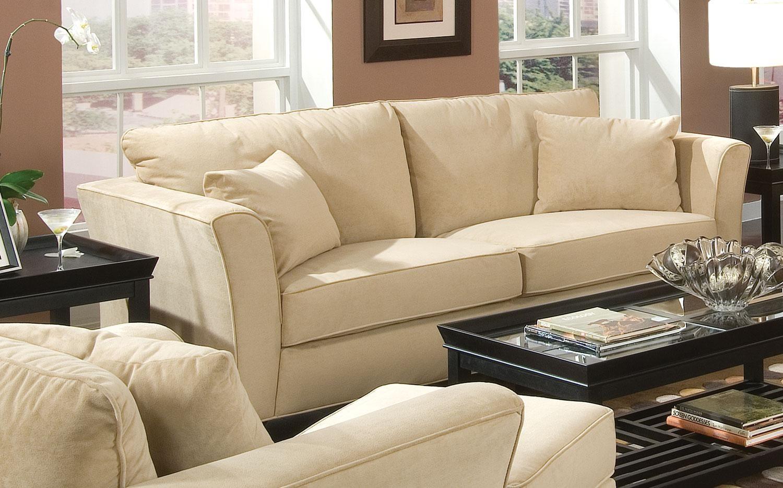 Park place cream sofa 500231 from coaster 500231 - Living room with cream sofa ...
