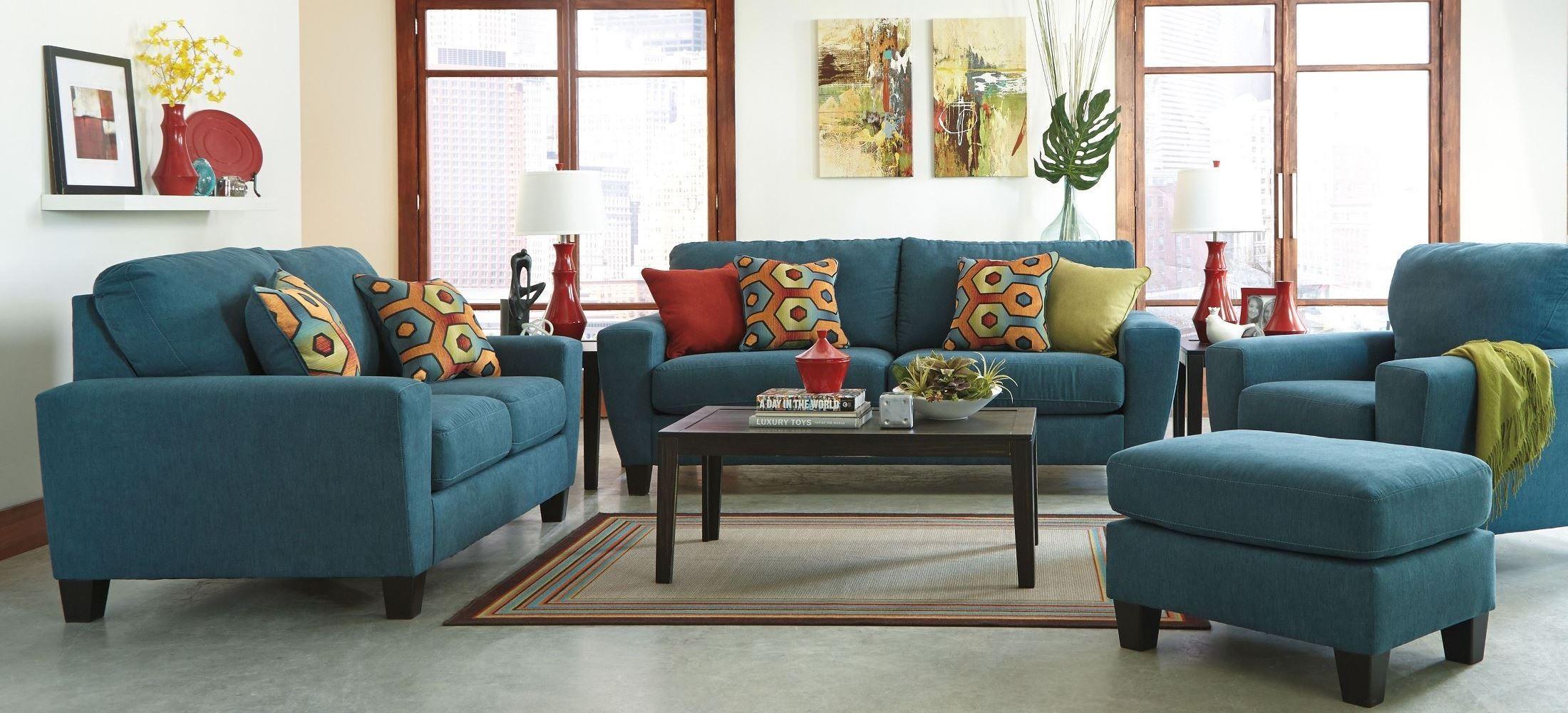 sagen teal living room set from ashley 9390238 coleman furniture. Black Bedroom Furniture Sets. Home Design Ideas