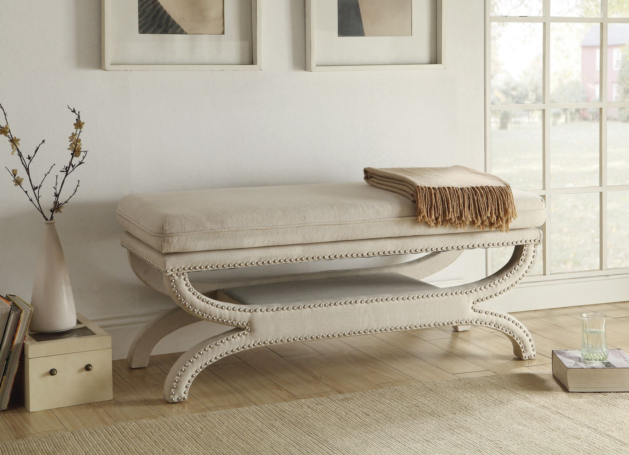 500004 White Upholstery Bench From Coaster 500004