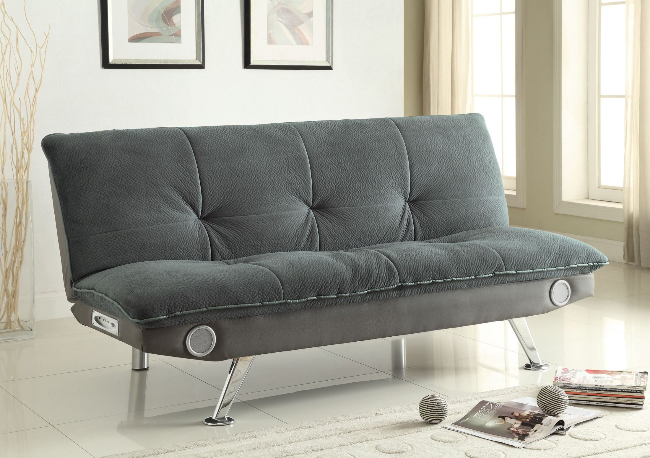 Braxton grey sofa bed from coaster 500046 coleman for Grey divan bed