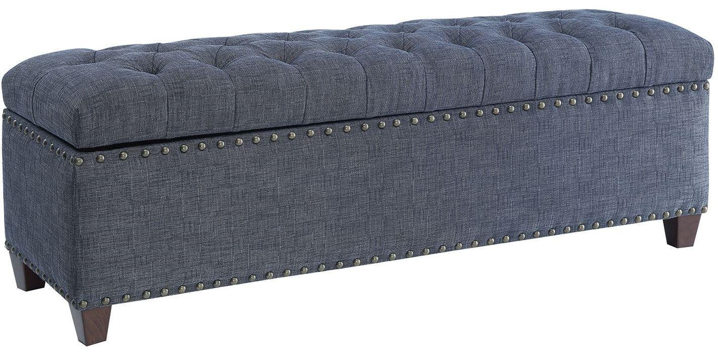 indigo fabric storage bench by donny osmond from coaster