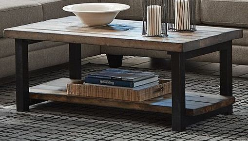 Rustic brown and black coffee table by scott living from for Rustic dark brown coffee table