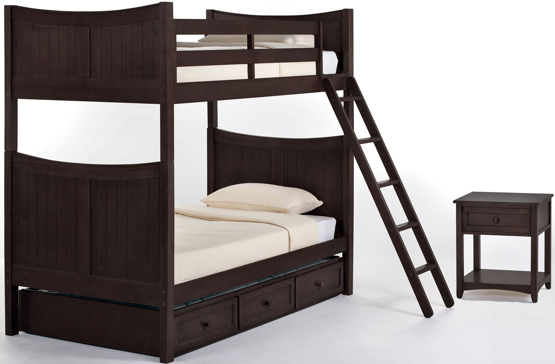 School House Chocolate Taylor Twin Over Twin Bunk Bed With