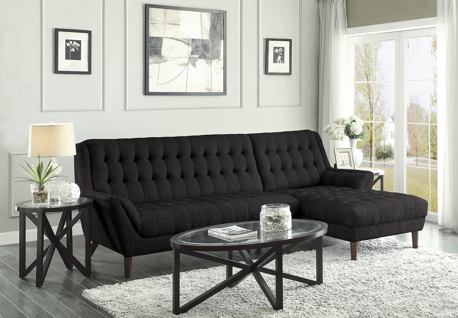 Natalia Black Sectional from Coaster