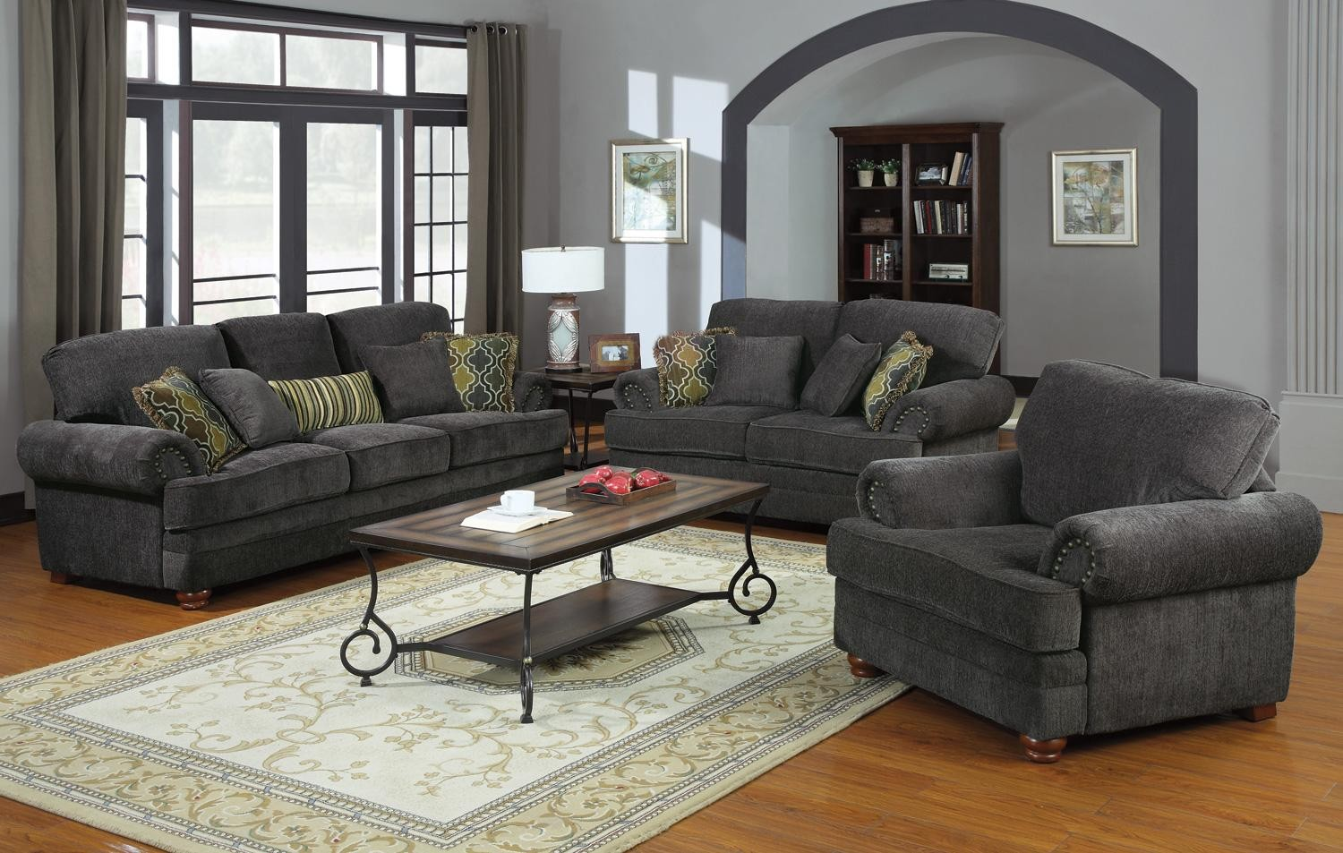Grey Living Room Furniture Set : Colton Grey Living Room Set from Coaster (504401 ...