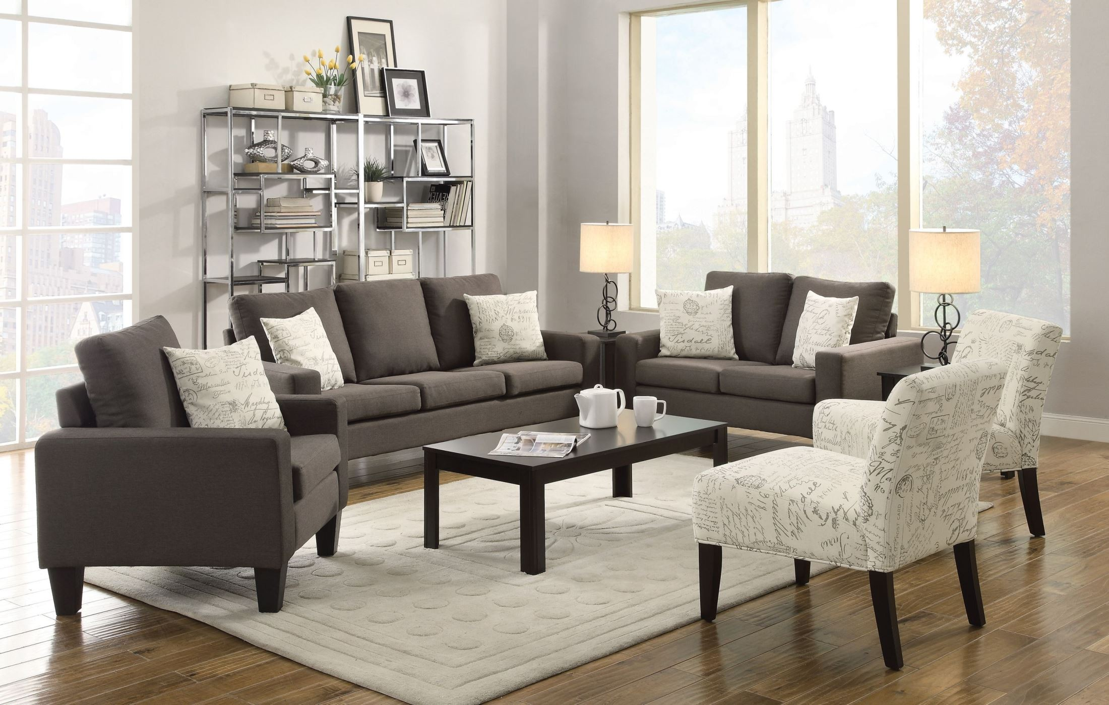 Charming Bachman Grey Living Room Set