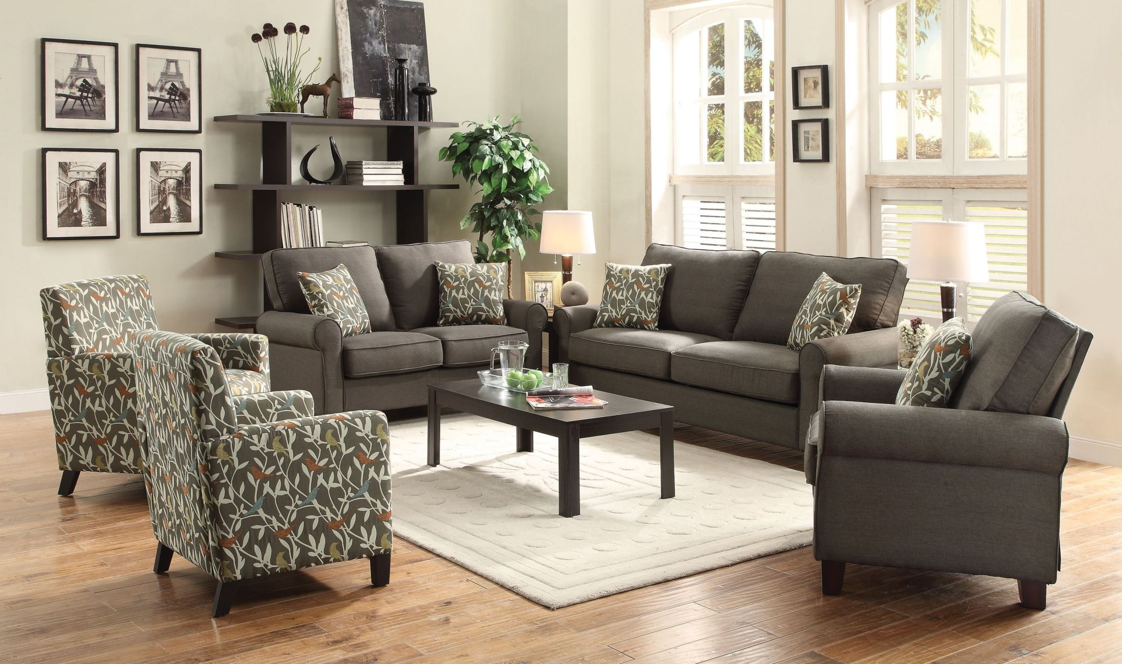 set living room furniture noella grey living room set from coaster 504781 16460