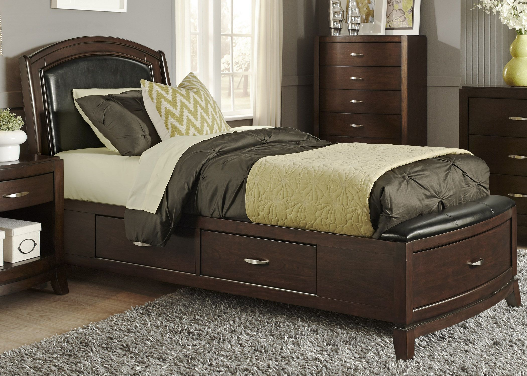 Avalon truffle youth one sided leather storage bedroom set for Leather bedroom furniture