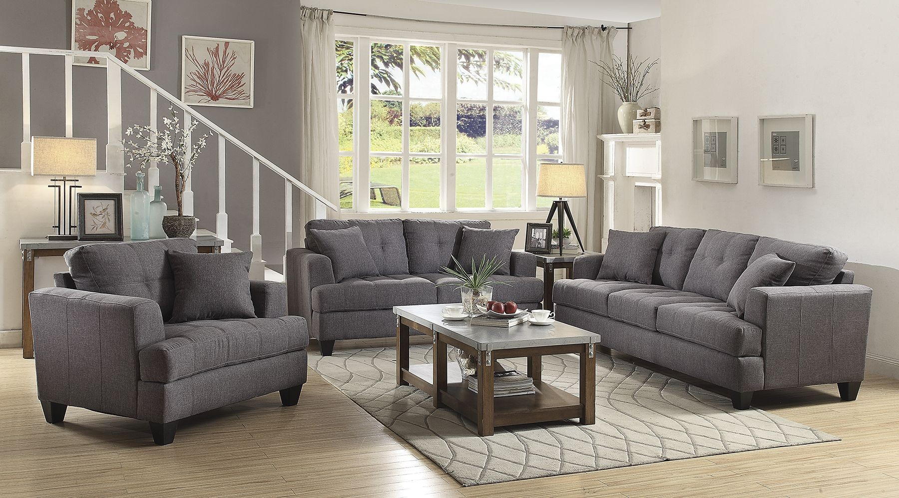 gray living room chairs samuel gray living room set from coaster coleman furniture 12723