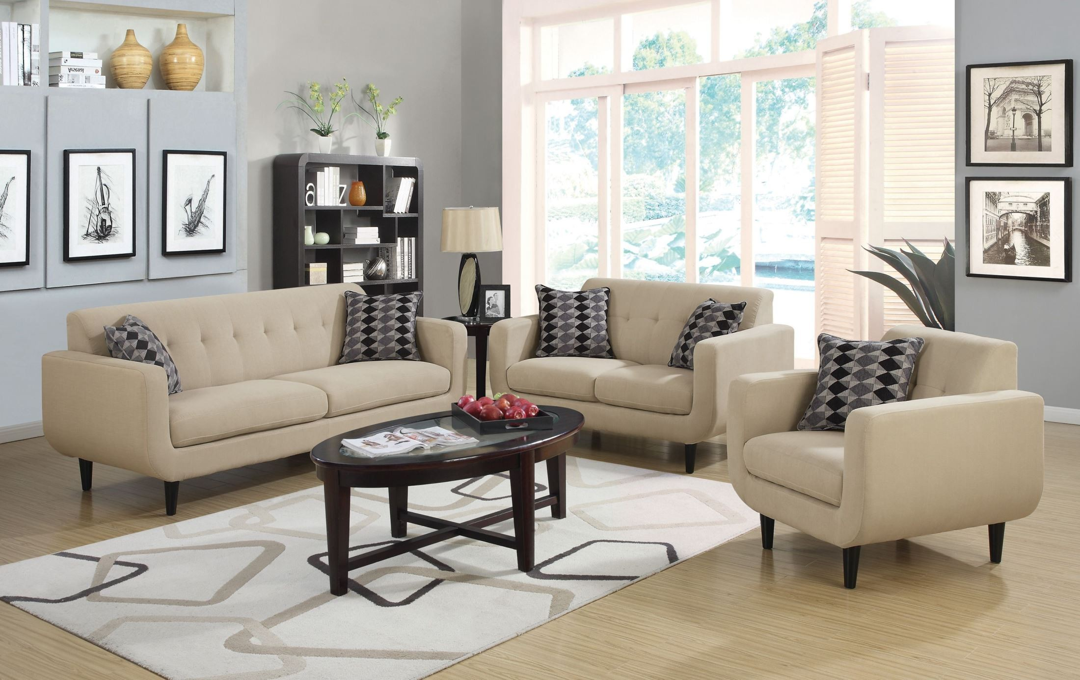 Stansall ivory living room set from coaster 505204 for Front room furniture sets