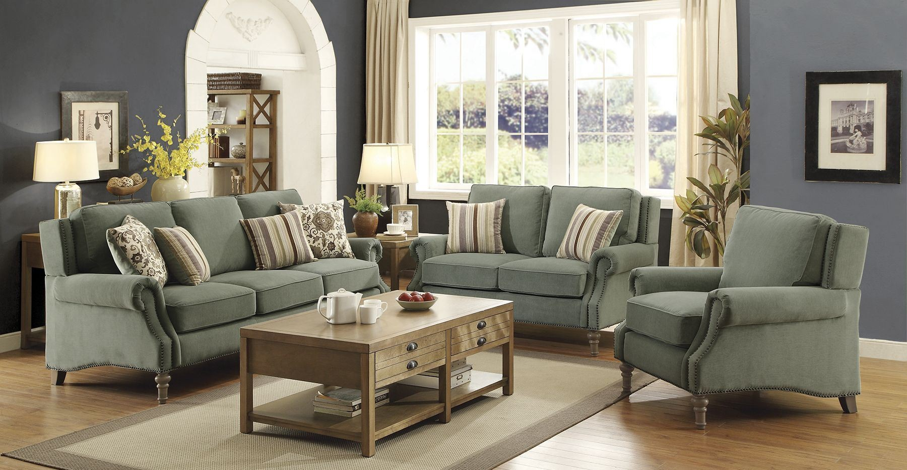 Rosenberg Light Sage Living Room Set, 505221, Coaster
