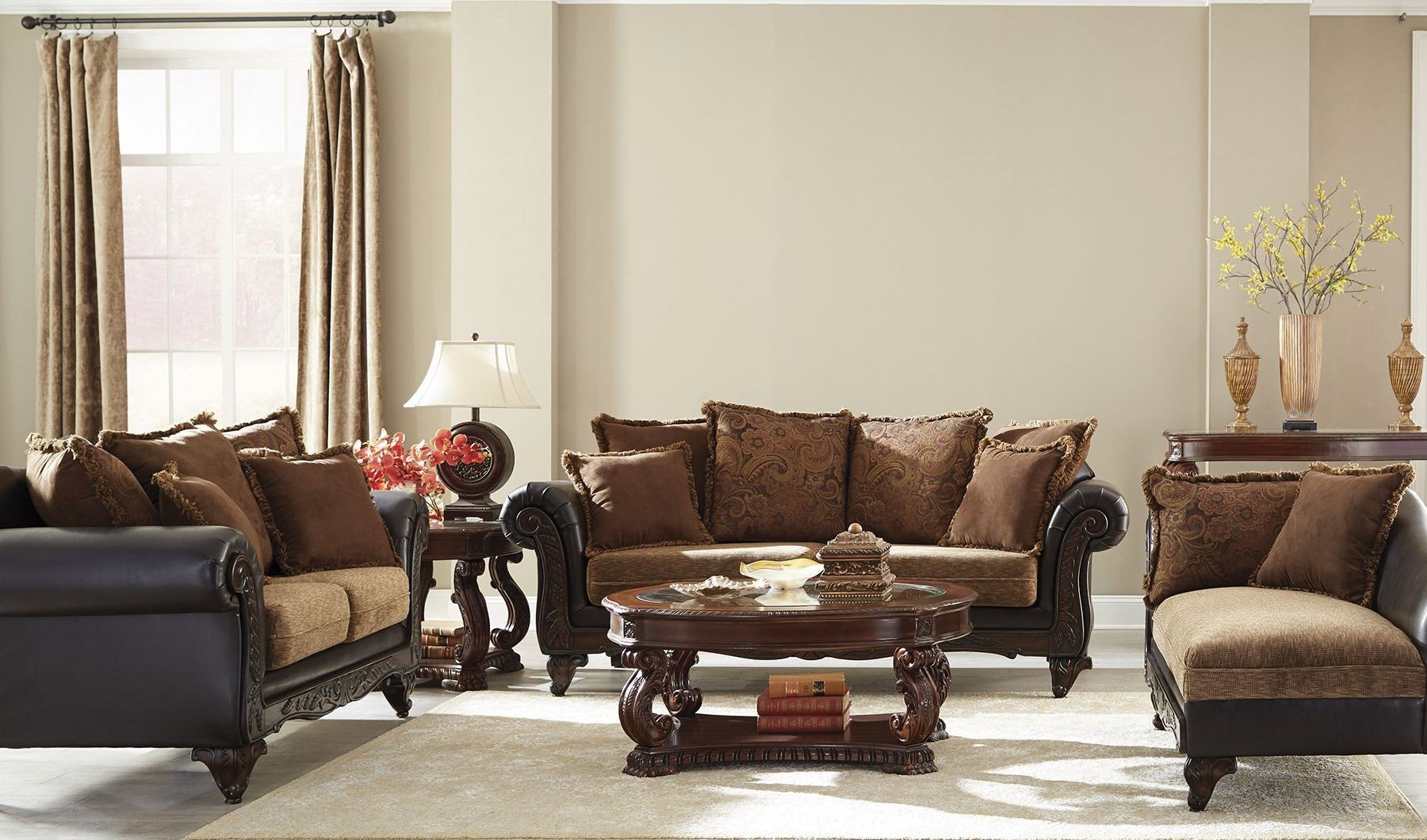 Garroway Russet/ Chocolate Living Room Set from Coaster | Coleman ...