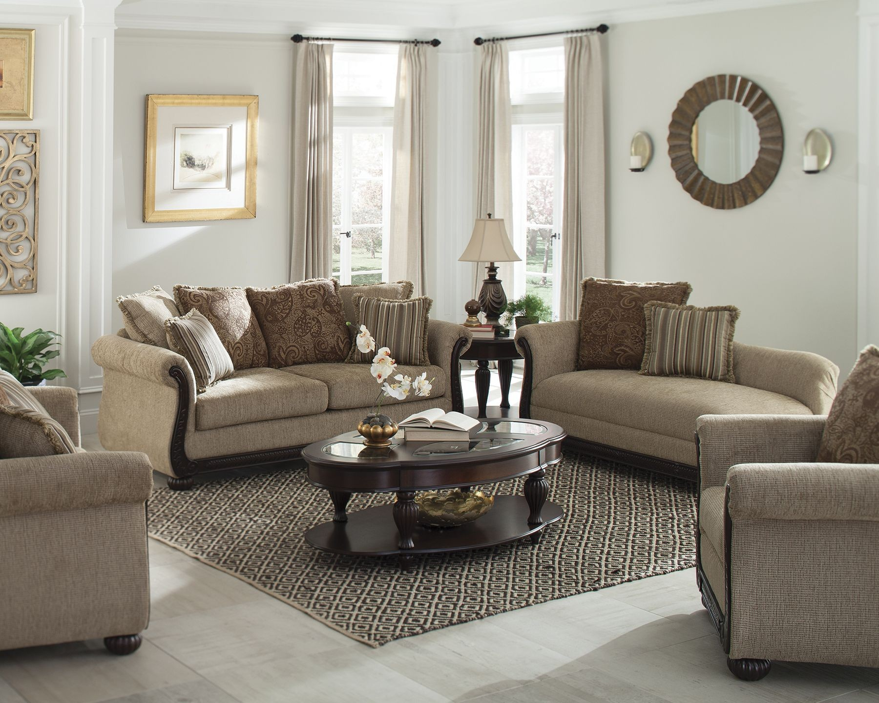 Beasley brown living room set from coaster coleman furniture for Brown living room set