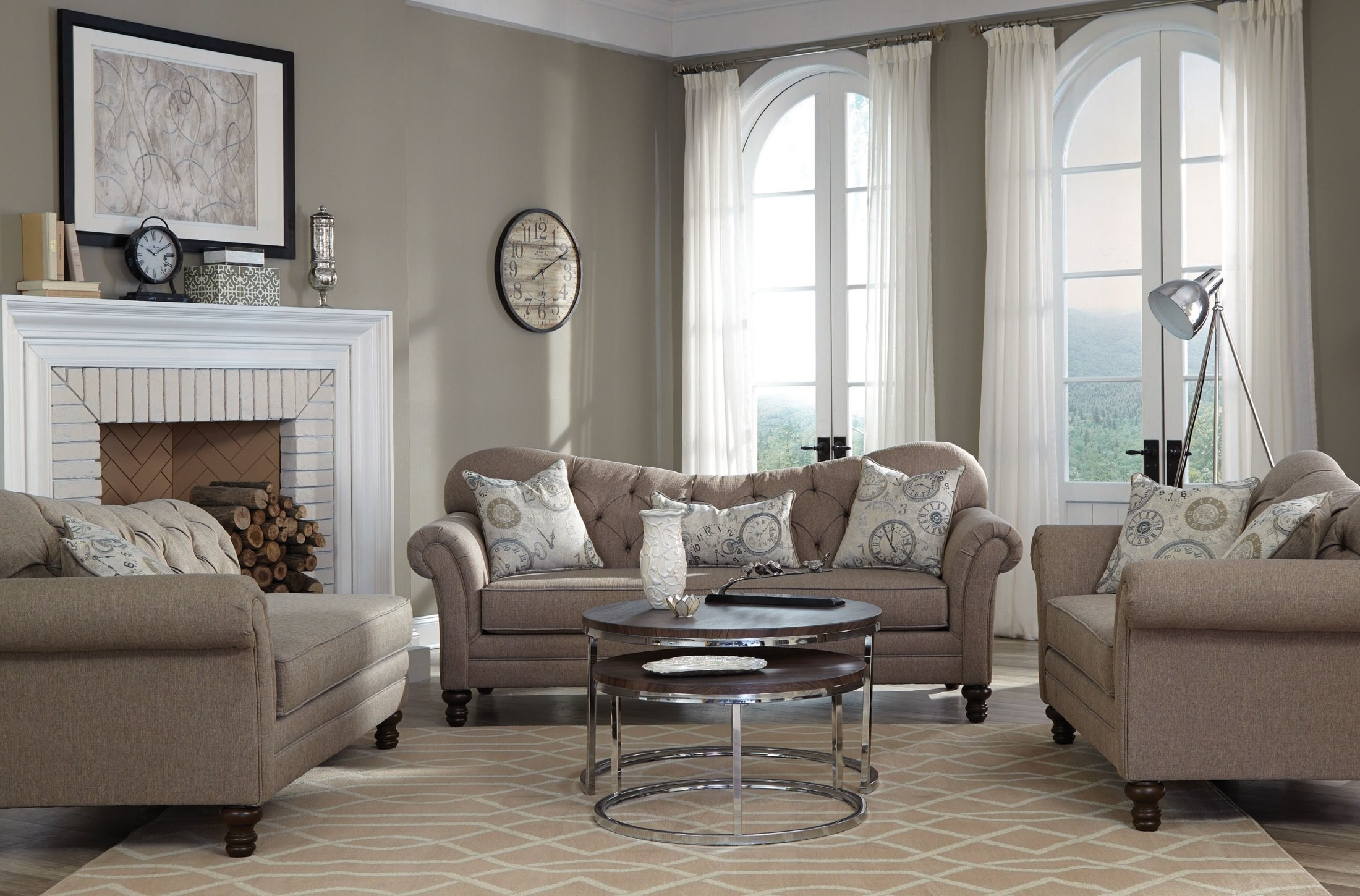 carnahan stone gray living room set from coaster | coleman