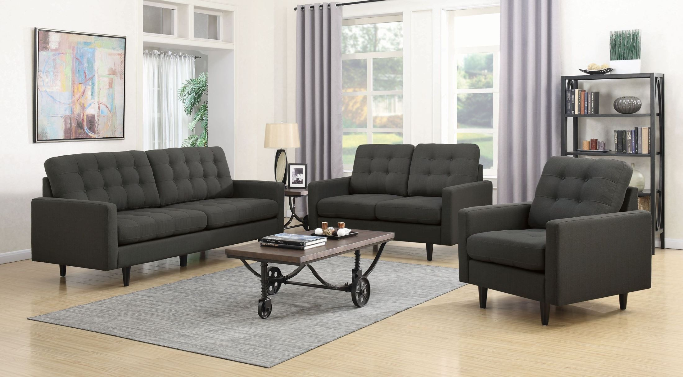 Kesson Charcoal Living Room Set From Coaster Coleman Furniture
