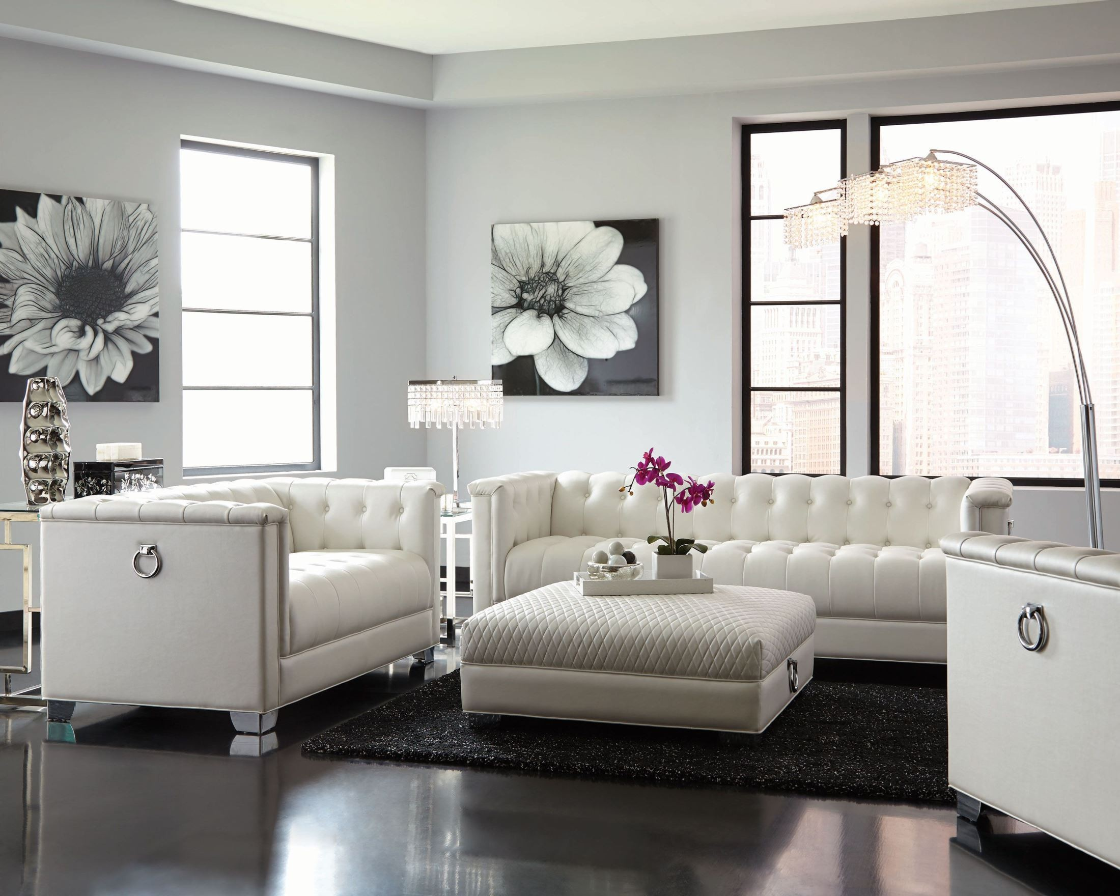 Chaviano pearl white living room set from coaster for Living area furniture