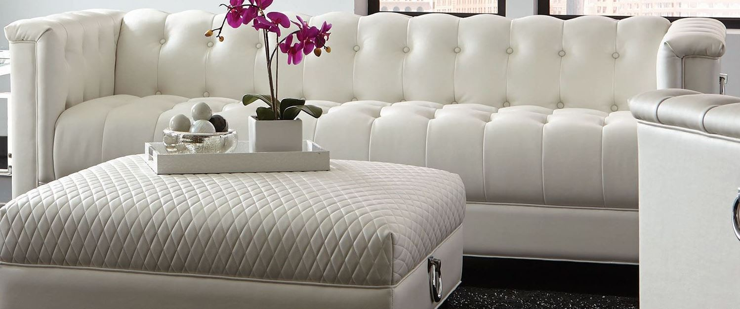 Chaviano Pearl White Living Room Set from Coaster | Coleman Furniture